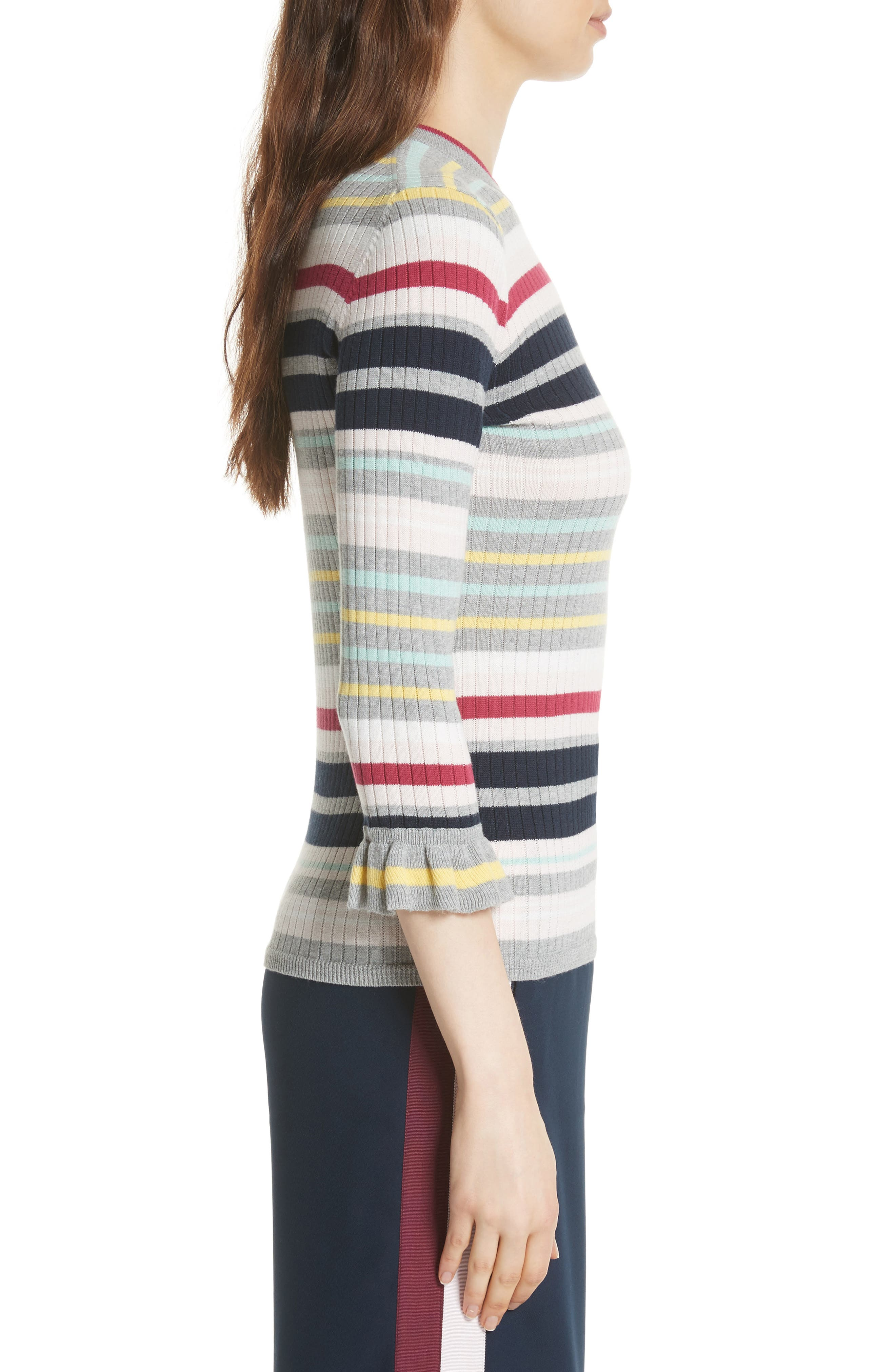 Colour by Numbers Stripe Top,                             Alternate thumbnail 3, color,                             Grey