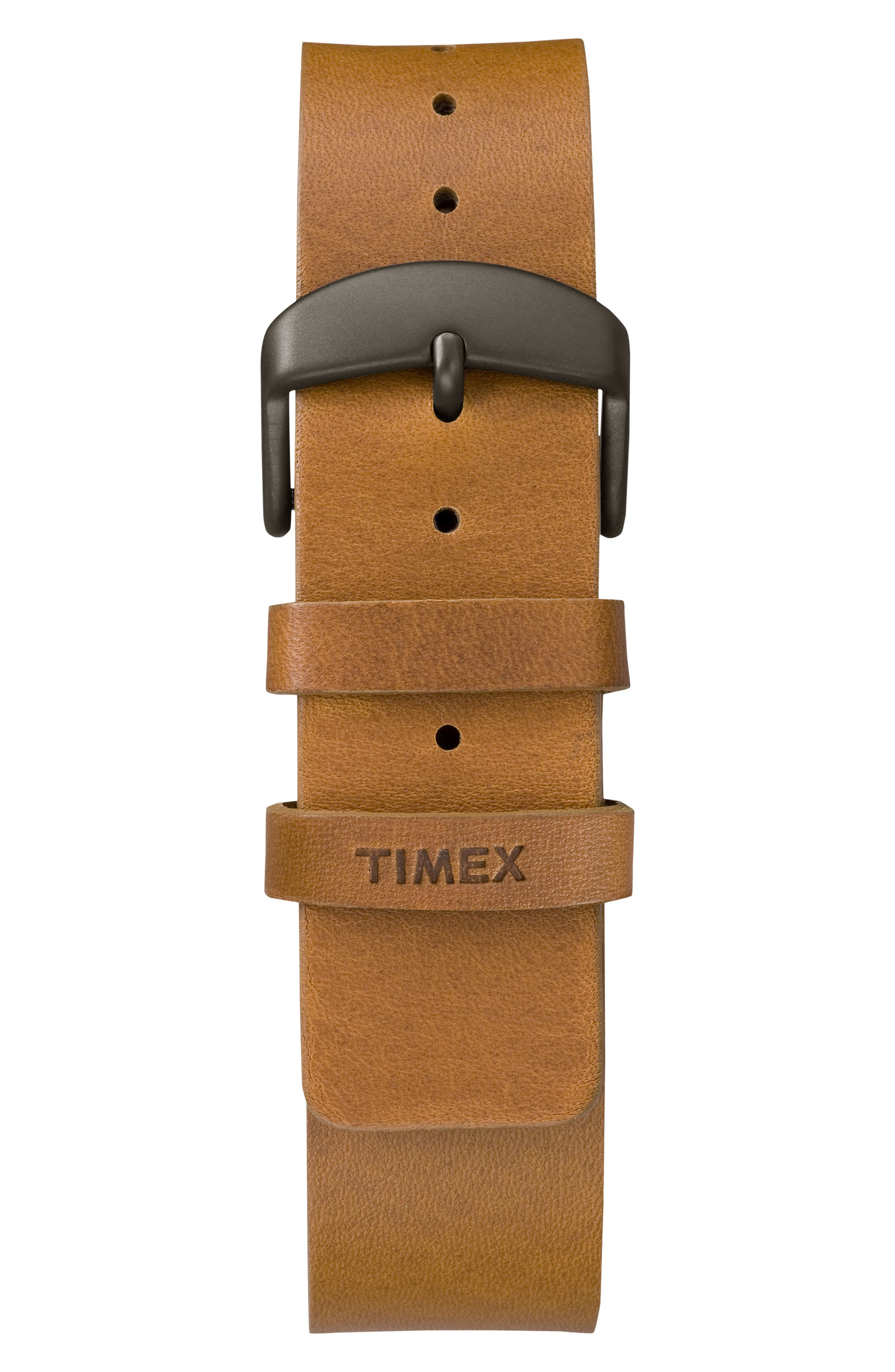 Allied Leather Strap Watch, 40mm,                             Alternate thumbnail 2, color,                             Brown/ Natural/ Grey