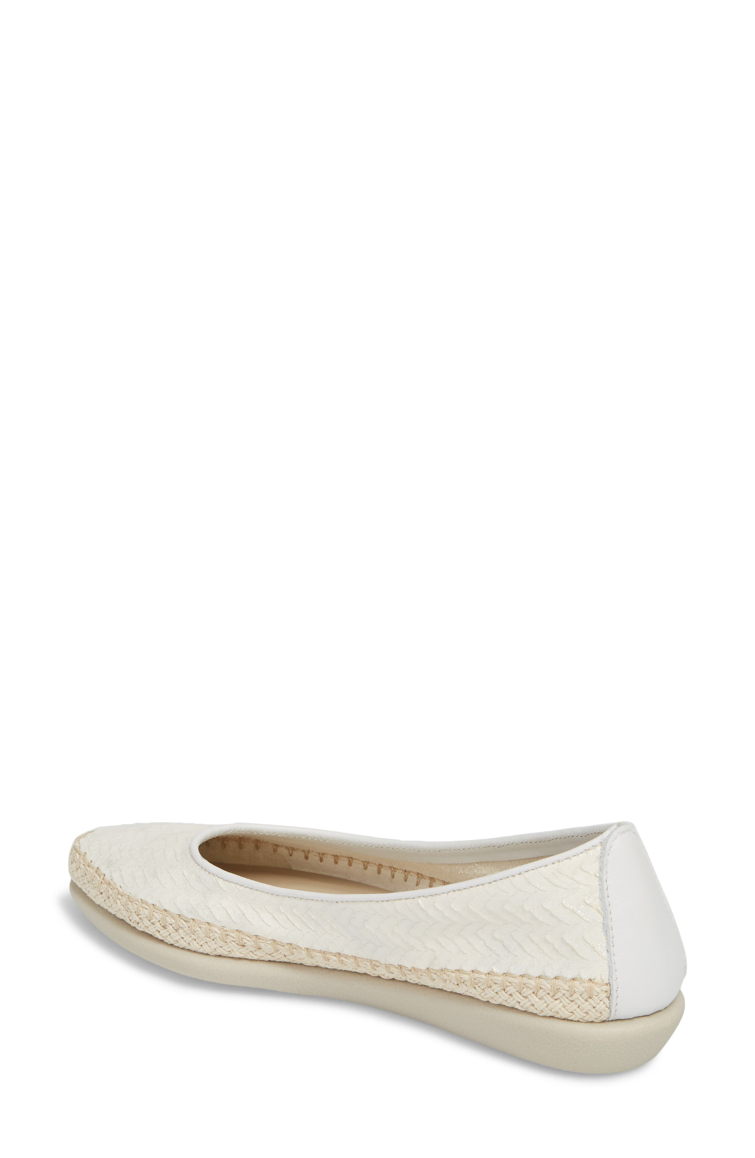'Torri' Perforated Espadrille Flat,                             Alternate thumbnail 2, color,                             Pearl Leather