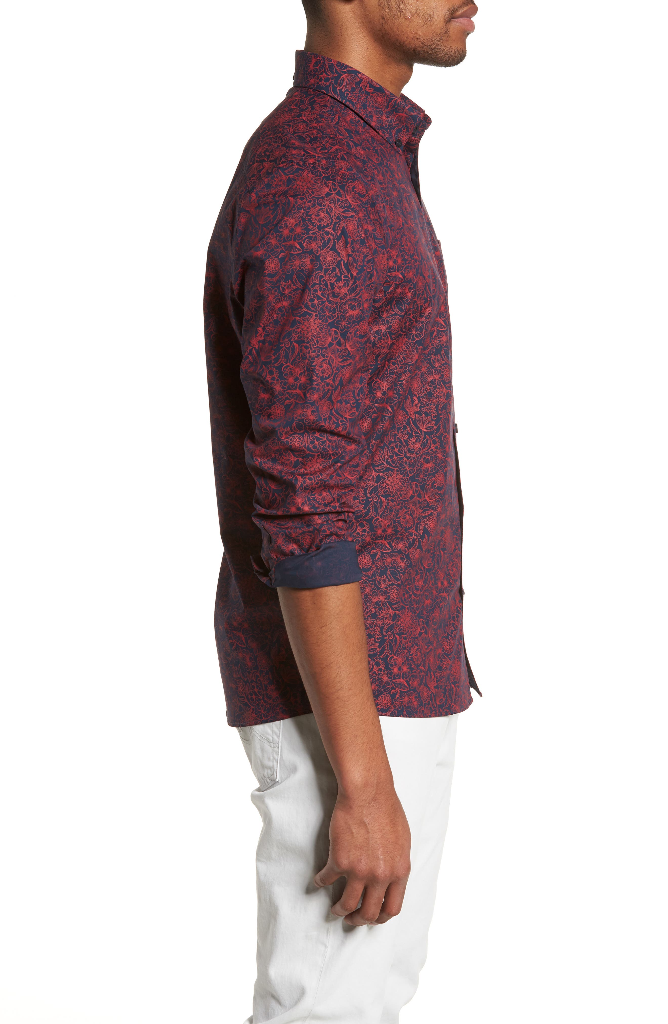 Trim Fit Non-Iron Floral Sport Shirt,                             Alternate thumbnail 3, color,                             Navy Iris Red Bloom