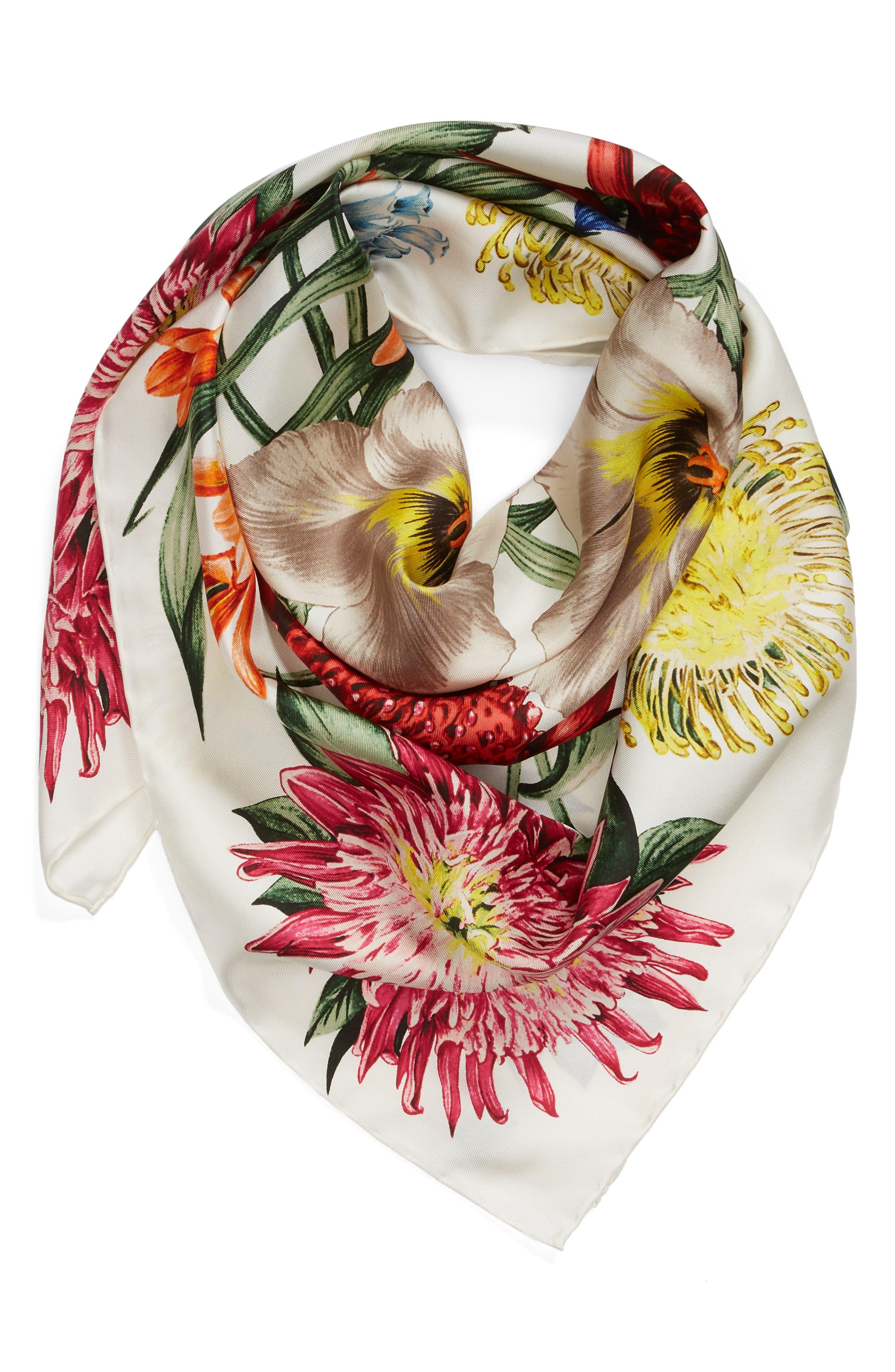 Alternate Image 2  - Echo Blooms of Oceania Square Silk Scarf