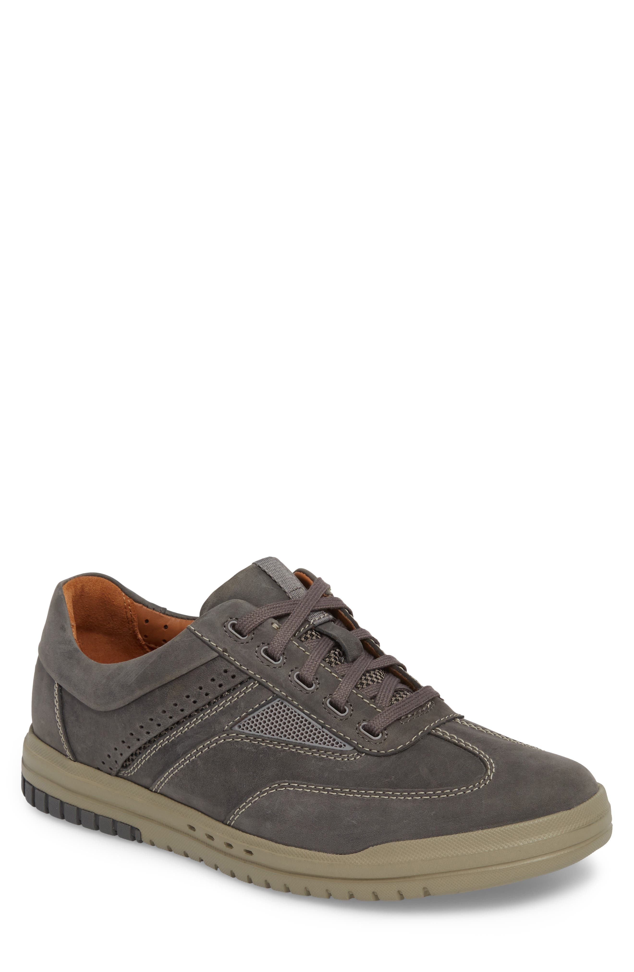Unrhombus Low Top Sneaker,                             Main thumbnail 1, color,                             Dark Grey Leather