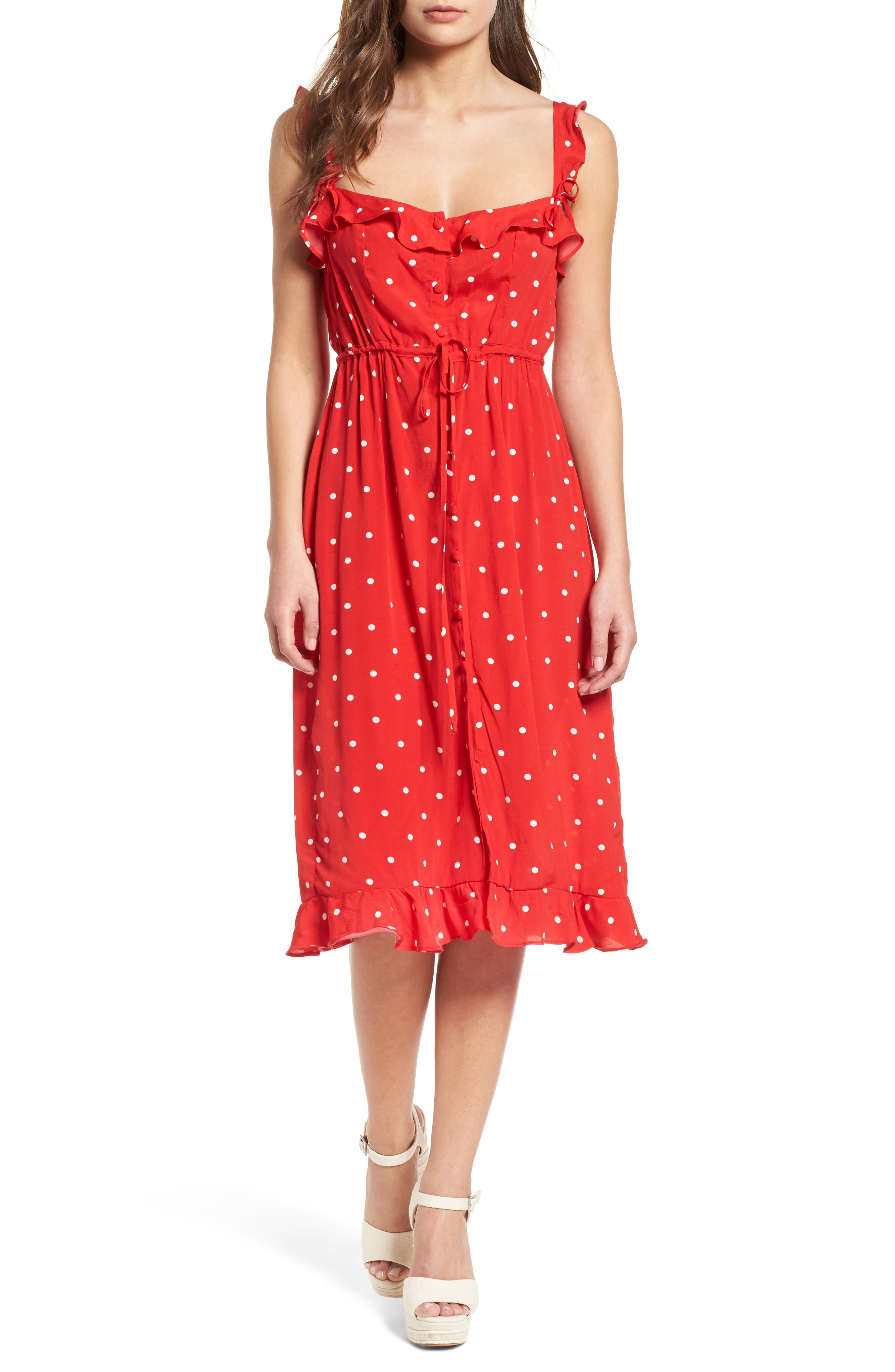 Natalia Midi Dress,                         Main,                         color, Red Dot