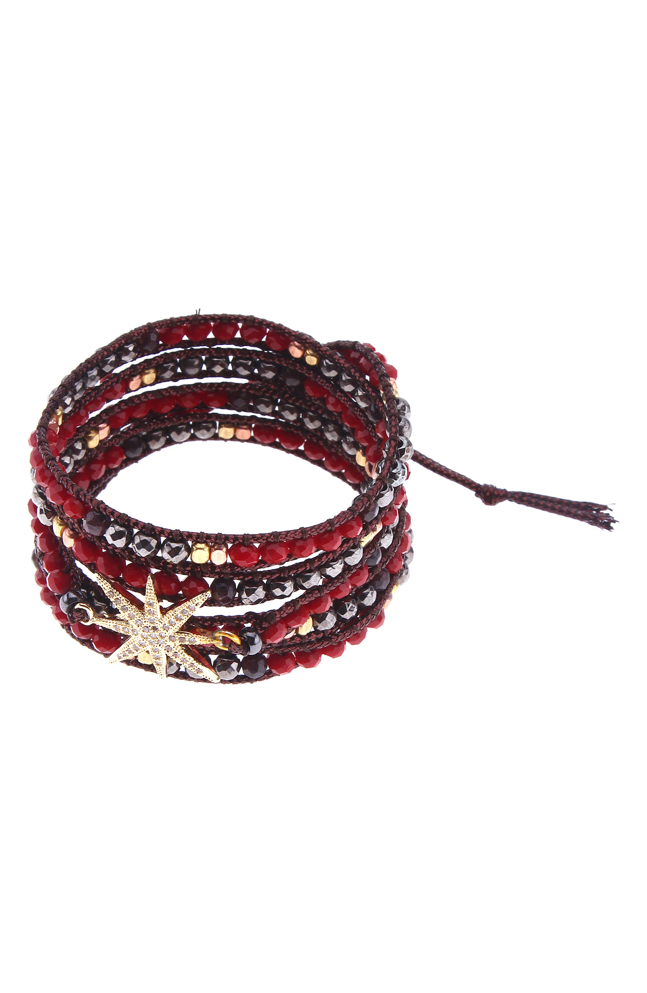 Beaded Leather Wrap Bracelet,                         Main,                         color, Garnet