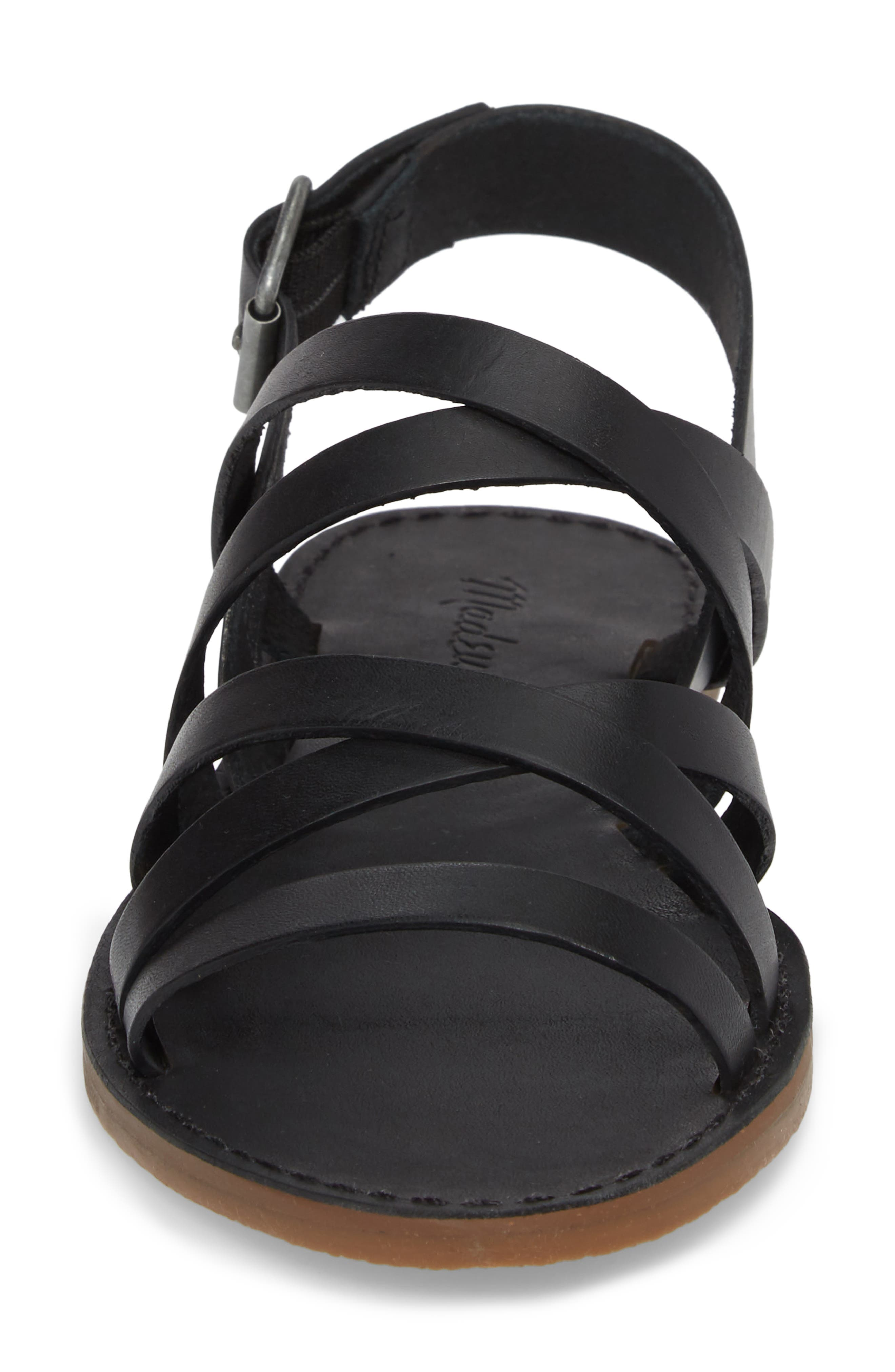 The Boardwalk Multistrap Sandal,                             Alternate thumbnail 4, color,                             True Black Leather