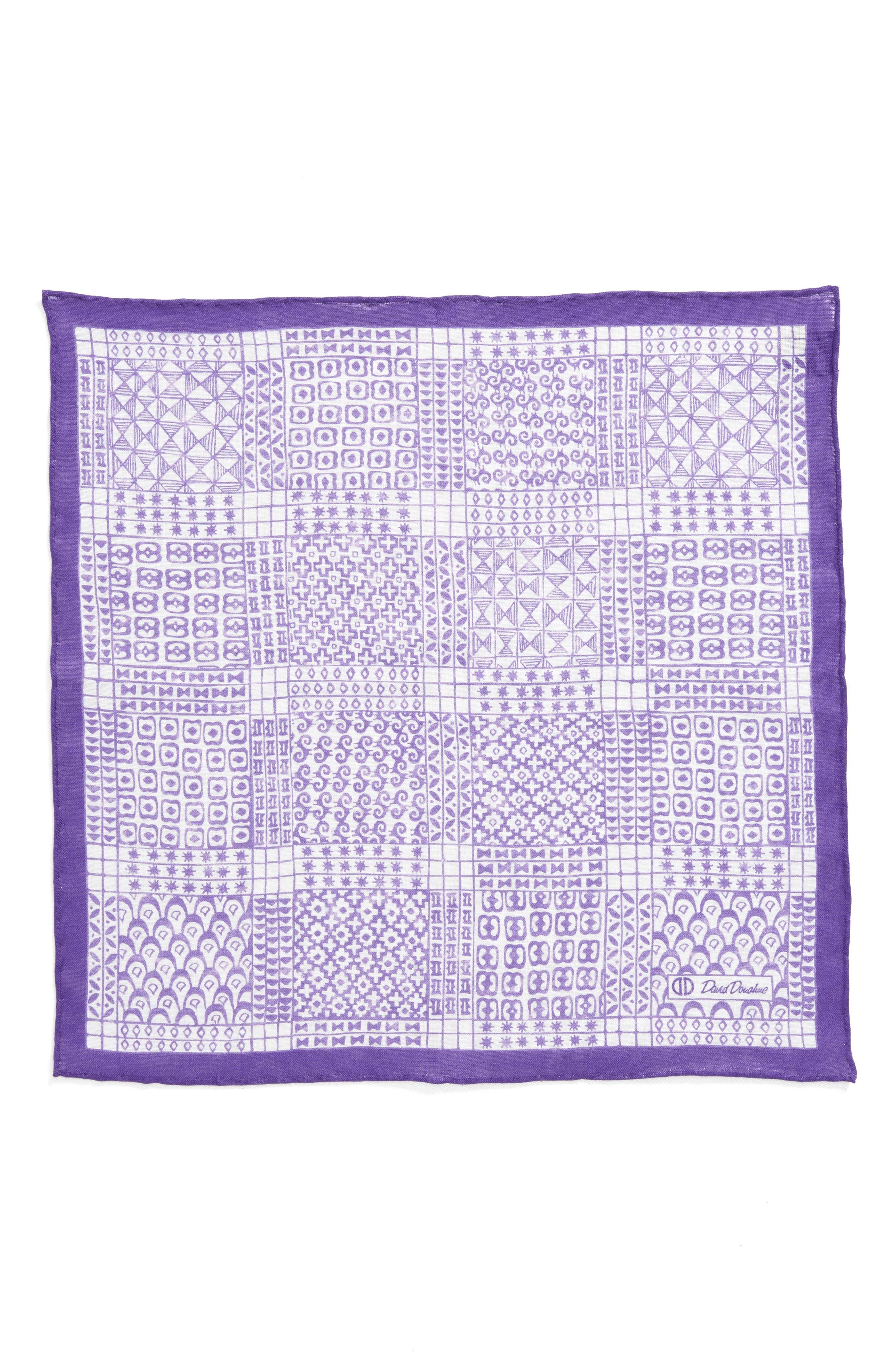 Neat Linen Pocket Square,                             Alternate thumbnail 2, color,                             Purple