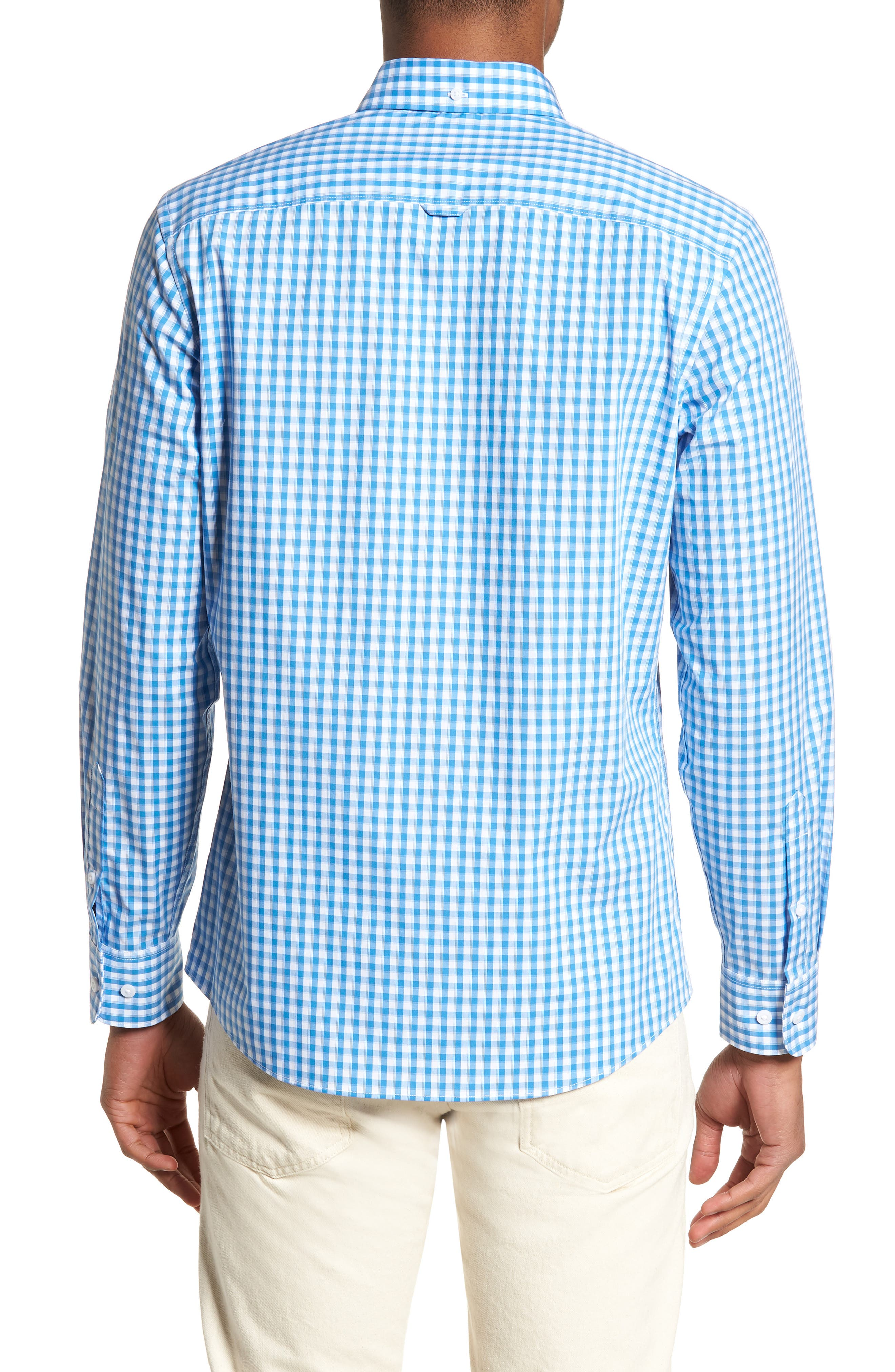 Tech-Smart Trim Fit Check Sport Shirt,                             Alternate thumbnail 3, color,                             Blue Camp White Gingham