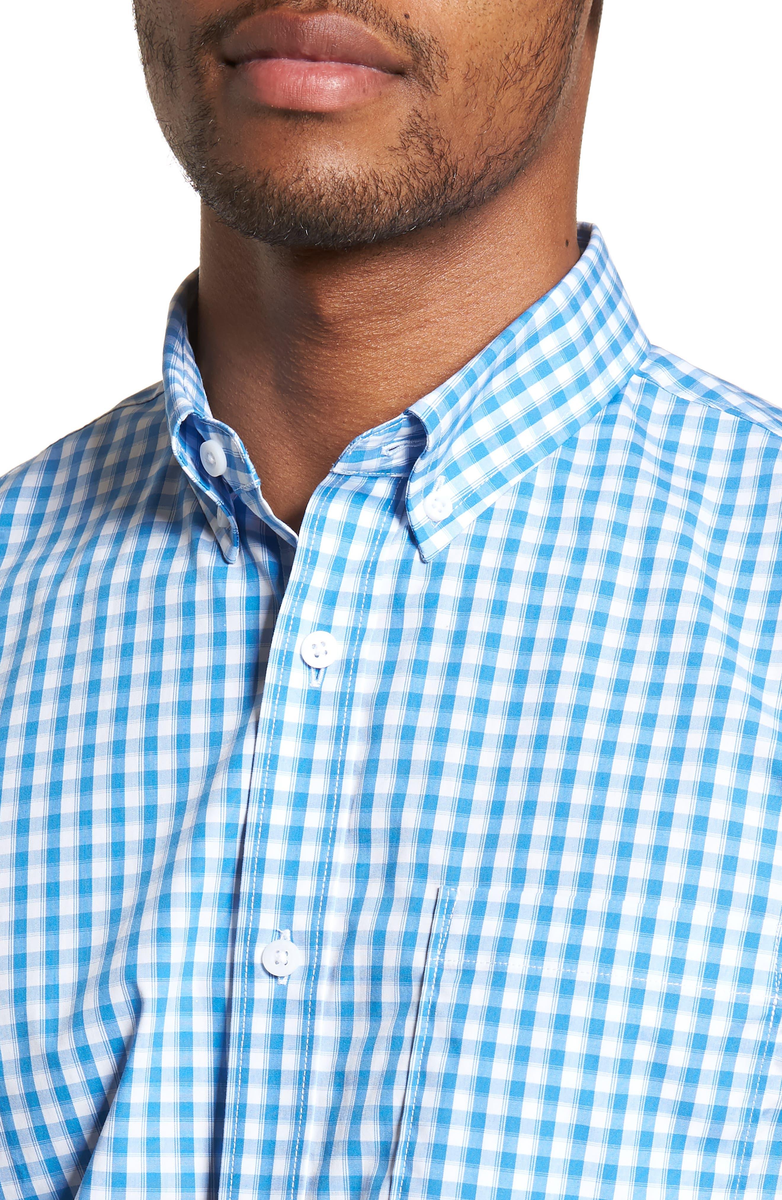 Tech-Smart Trim Fit Check Sport Shirt,                             Alternate thumbnail 2, color,                             Blue Camp White Gingham