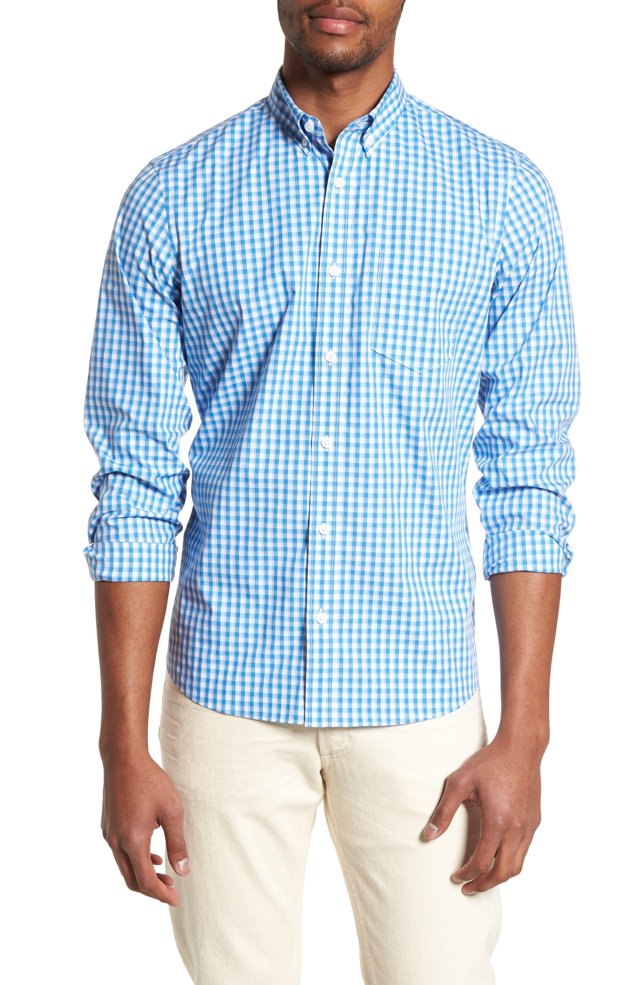 Tech-Smart Trim Fit Check Sport Shirt,                             Main thumbnail 1, color,                             Blue Camp White Gingham