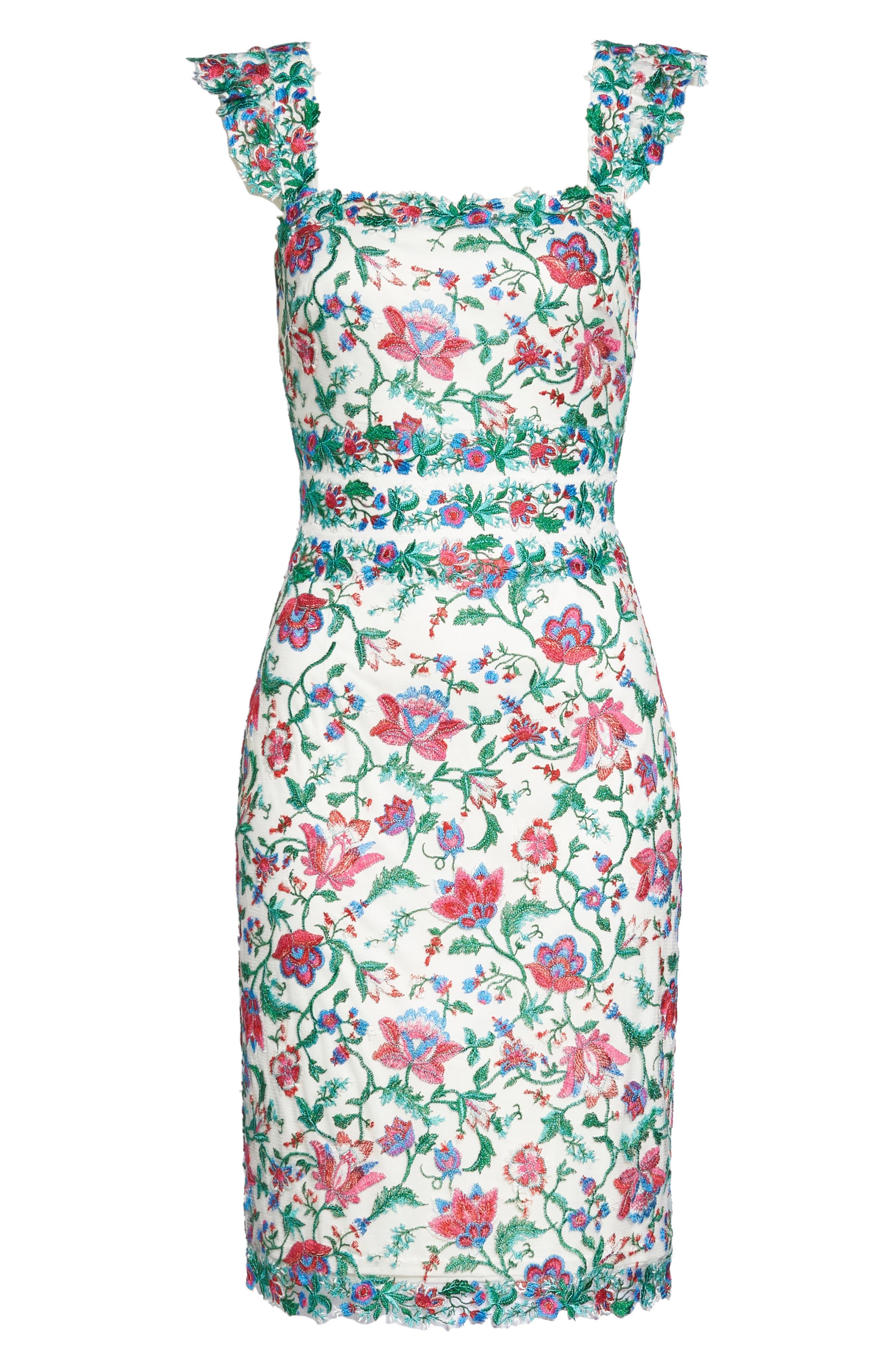 Ximena Embroidered Sheath Dress,                             Alternate thumbnail 6, color,                             White/ Dahlia