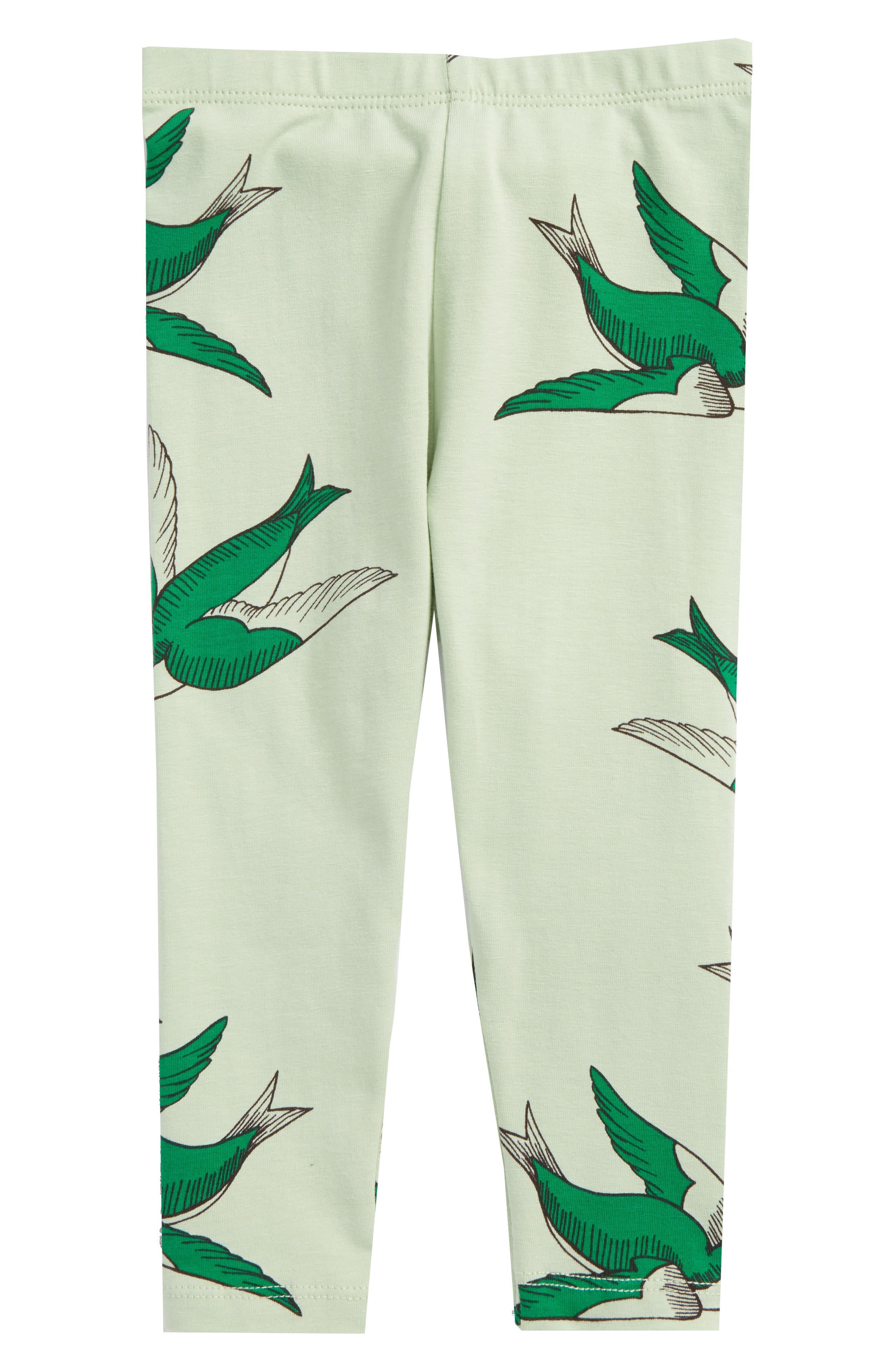 Swallows Print Leggings,                             Main thumbnail 1, color,                             Green