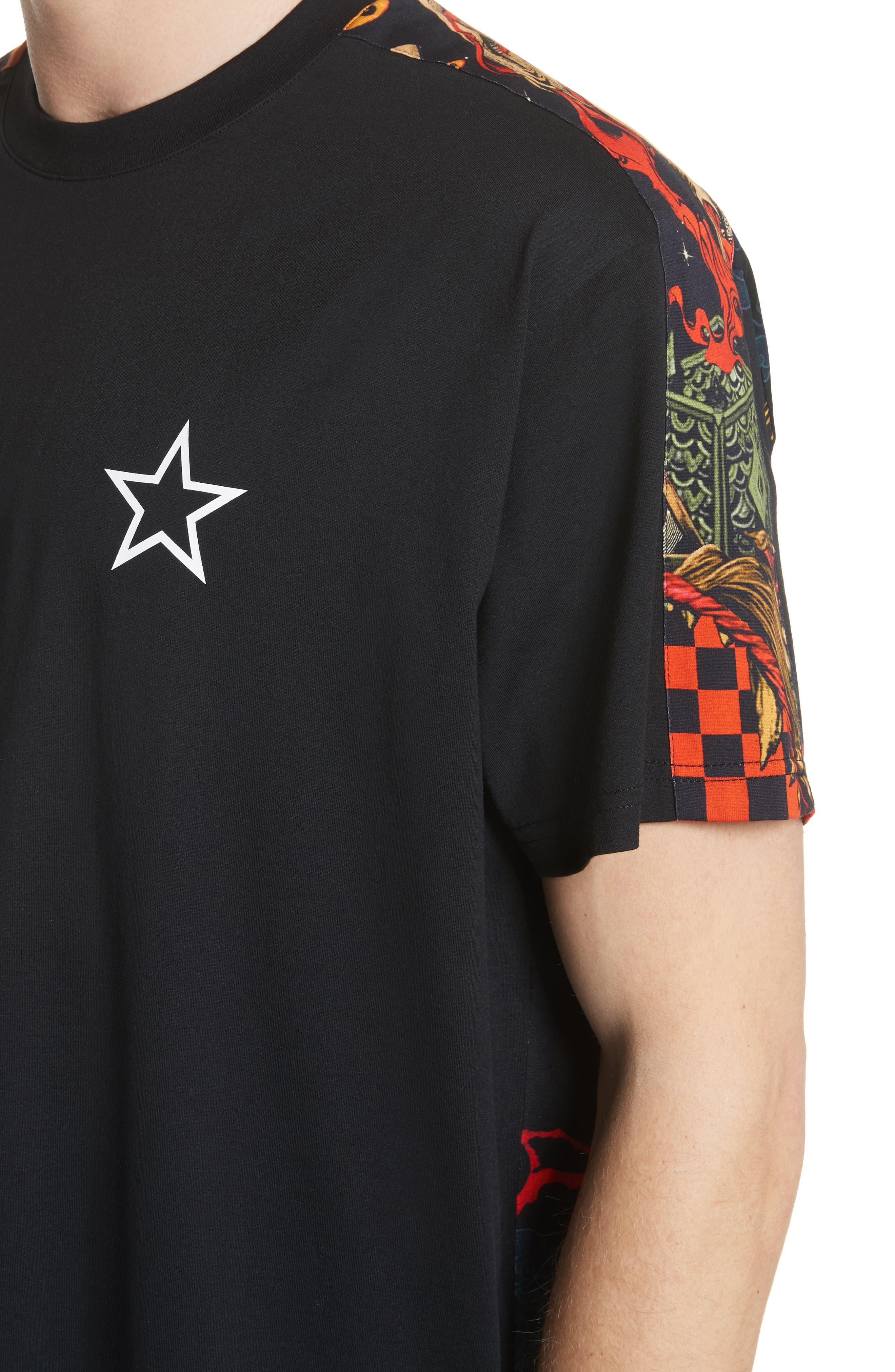 Fire Print T-Shirt,                             Alternate thumbnail 4, color,                             Black