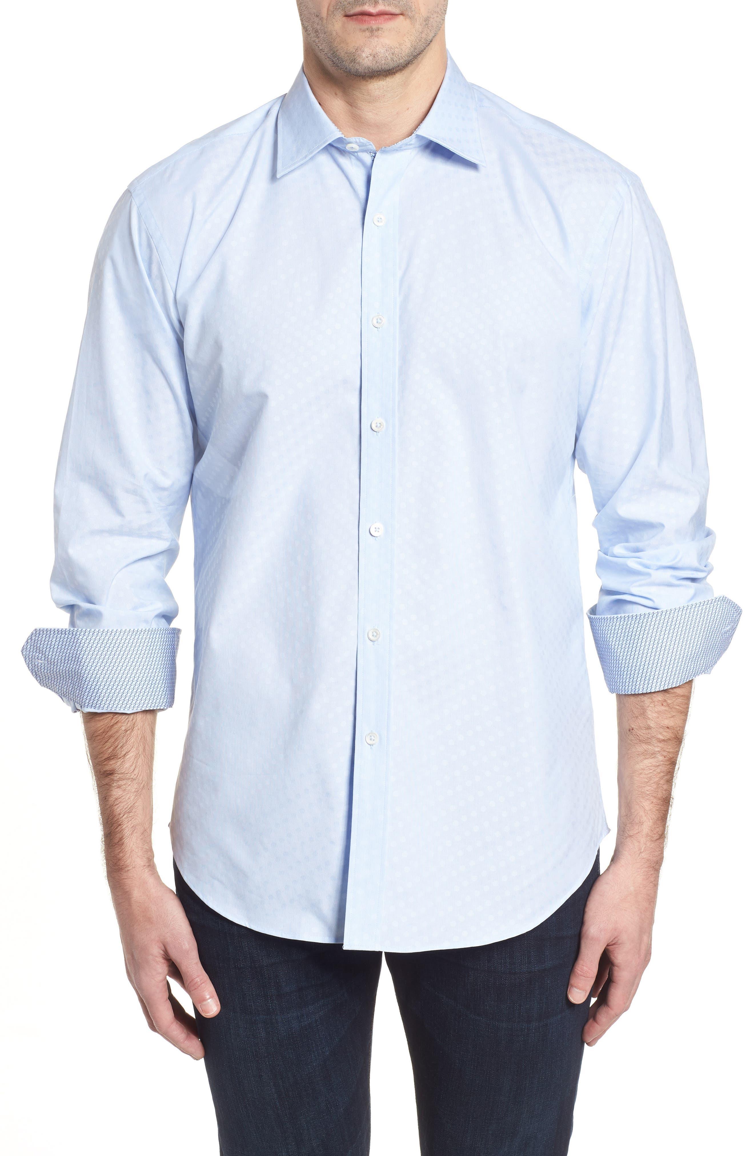 Shaped Fit Tonal Dots Sport Shirt,                         Main,                         color, Sky
