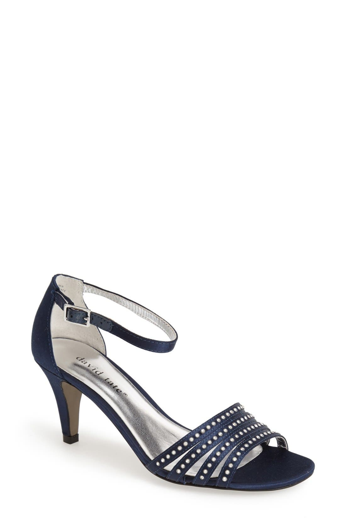 'Terra' Ankle Strap Sandal,                             Main thumbnail 1, color,                             Navy Satin