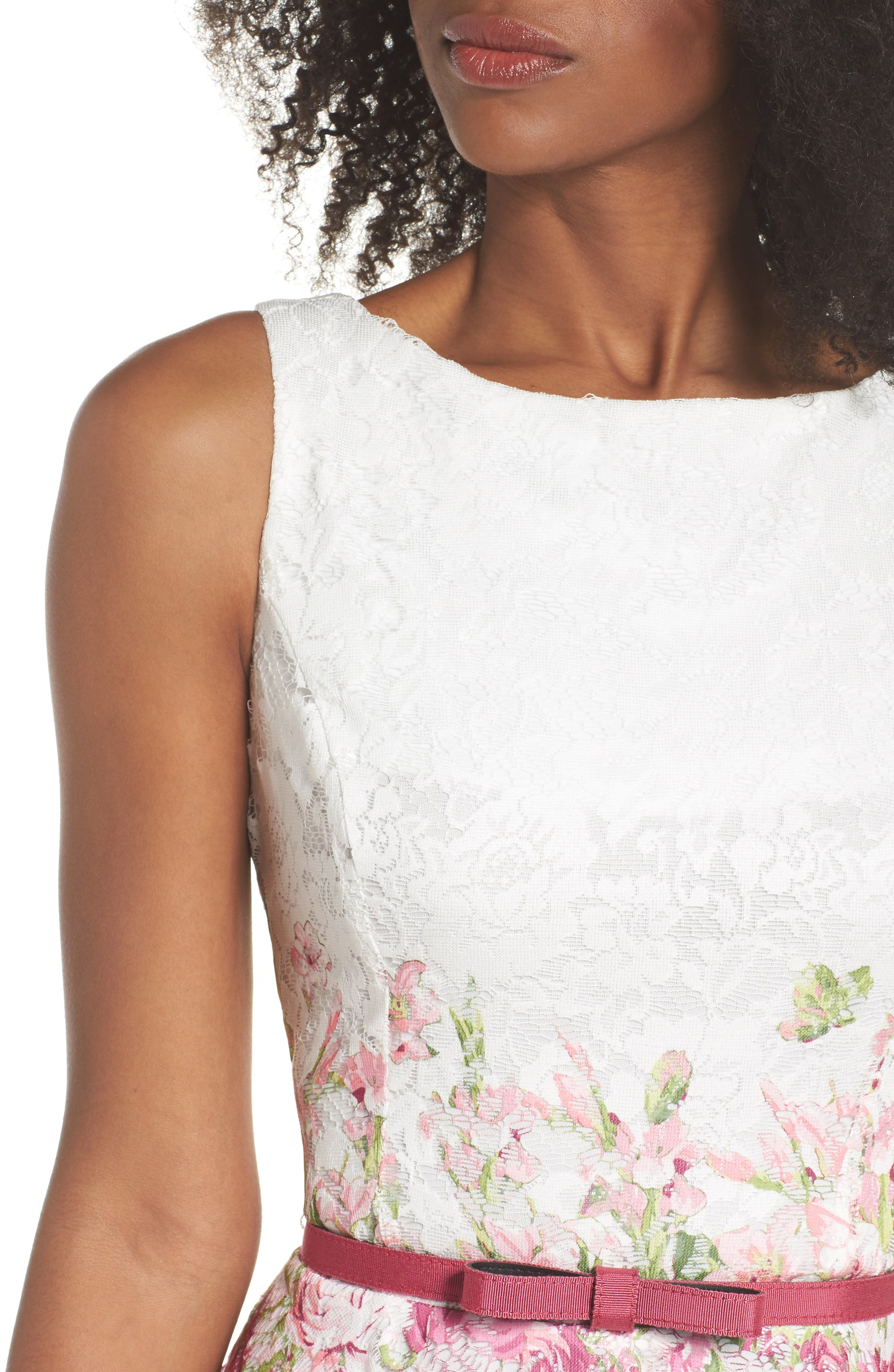 Belted Floral Lace Fit & Flare Dress,                             Alternate thumbnail 4, color,                             Pink Multi