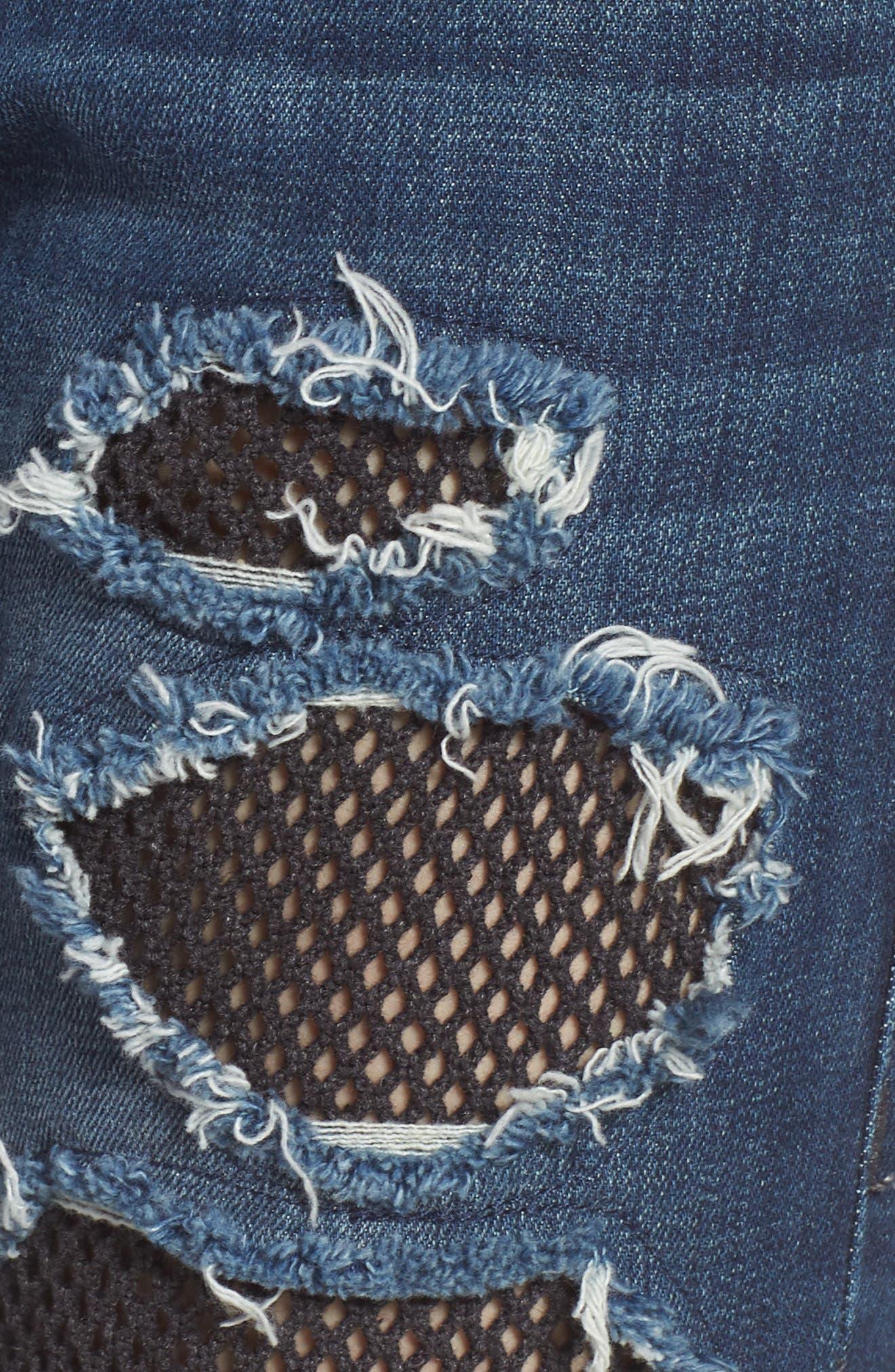 Halle Fishnet Skinny Jeans,                             Alternate thumbnail 6, color,                             Ebrd Cobalt Crush