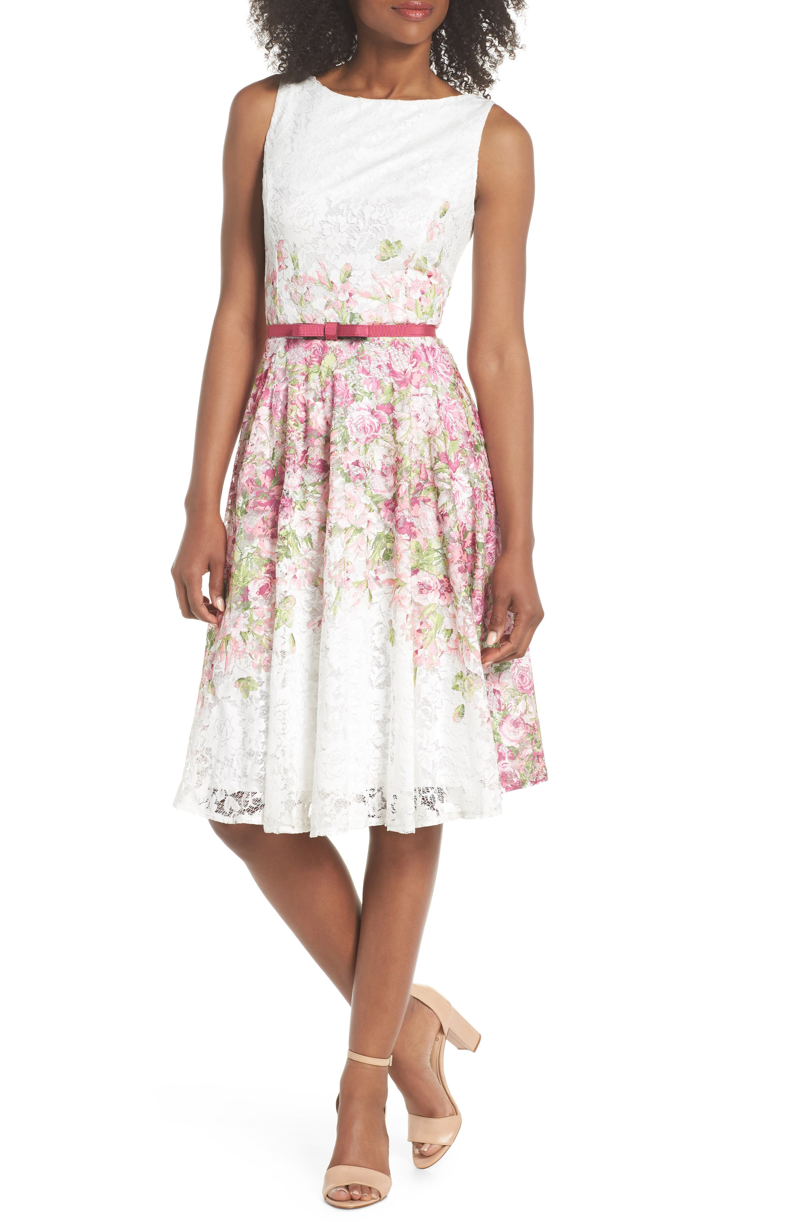 Belted Floral Lace Fit & Flare Dress,                         Main,                         color, Pink Multi