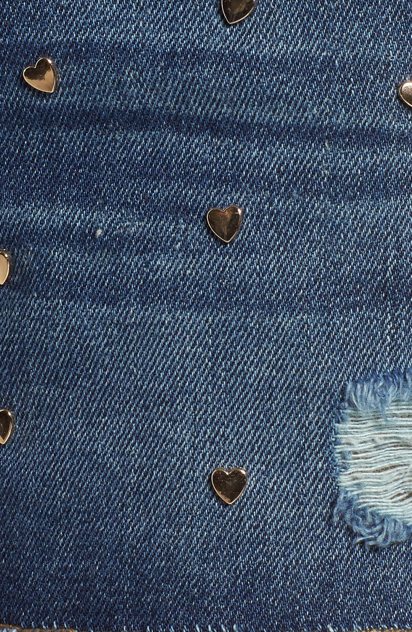 Heart Stud Step Hem Denim Shorts,                             Alternate thumbnail 6, color,                             Otis
