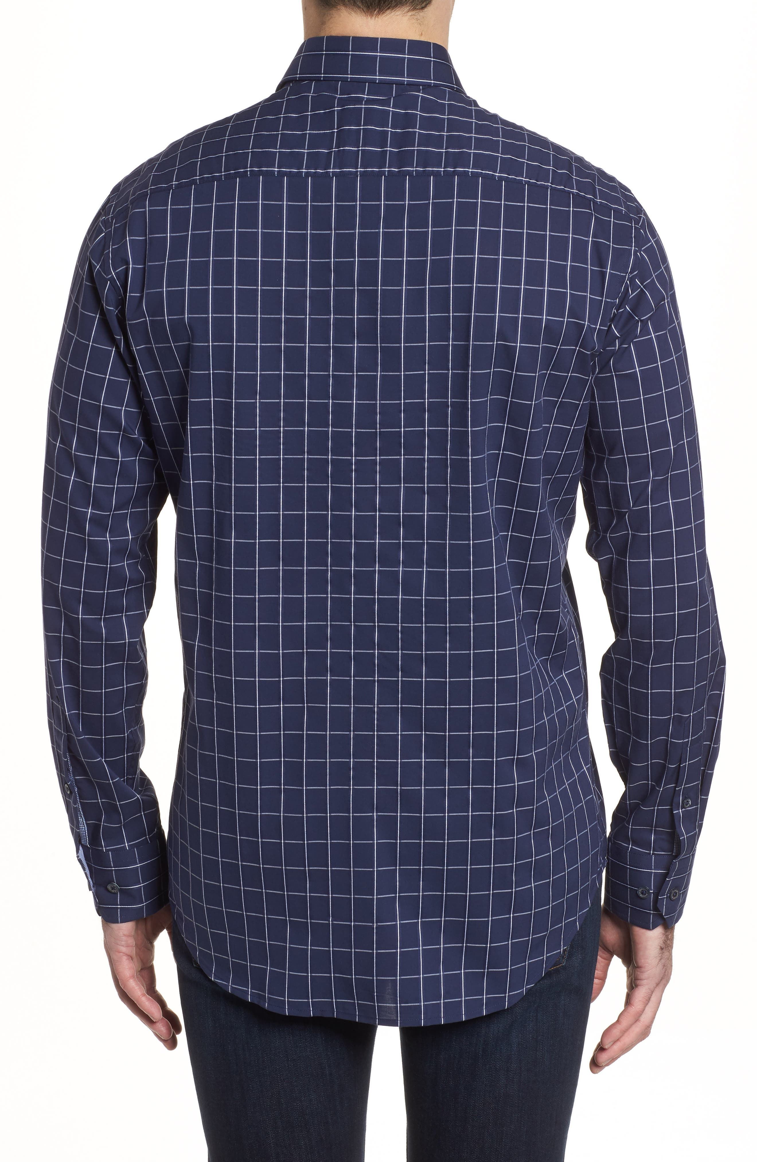 Shaped Fit Check Sport Shirt,                             Alternate thumbnail 2, color,                             Midnight