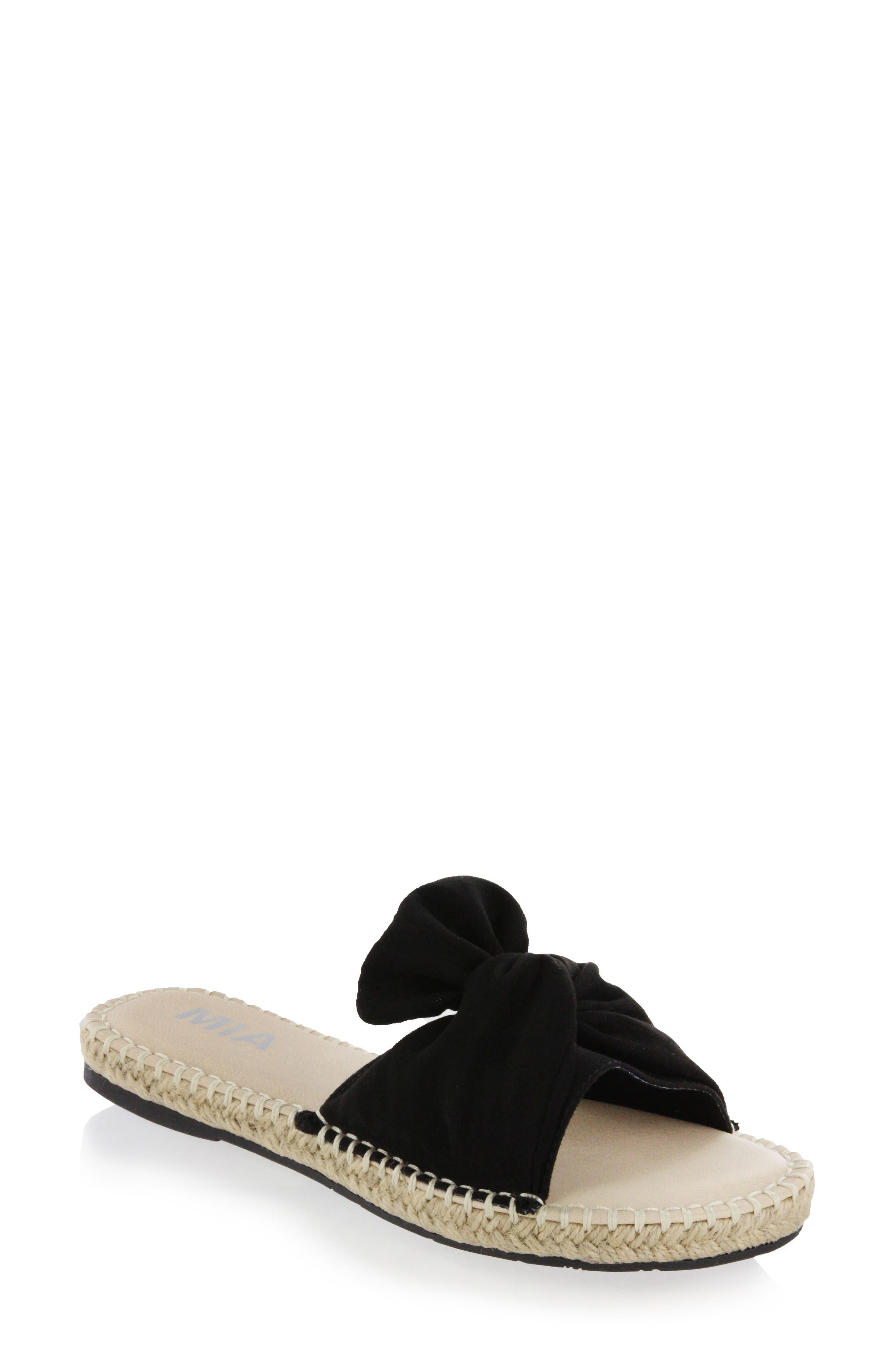 Kensi Knotted Slide Sandal,                             Main thumbnail 1, color,                             Black Nova Suede