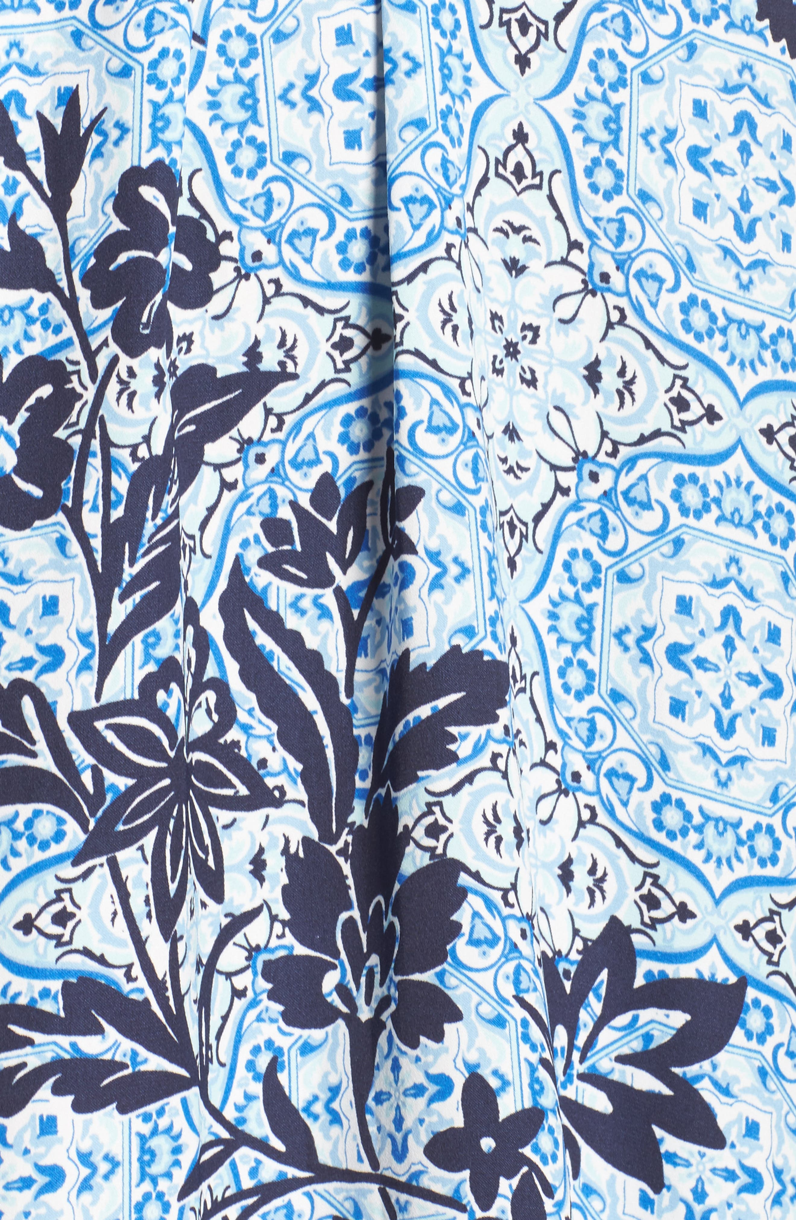Sweet Dreams Satin Robe,                             Alternate thumbnail 5, color,                             Blue Palace Tile Floral