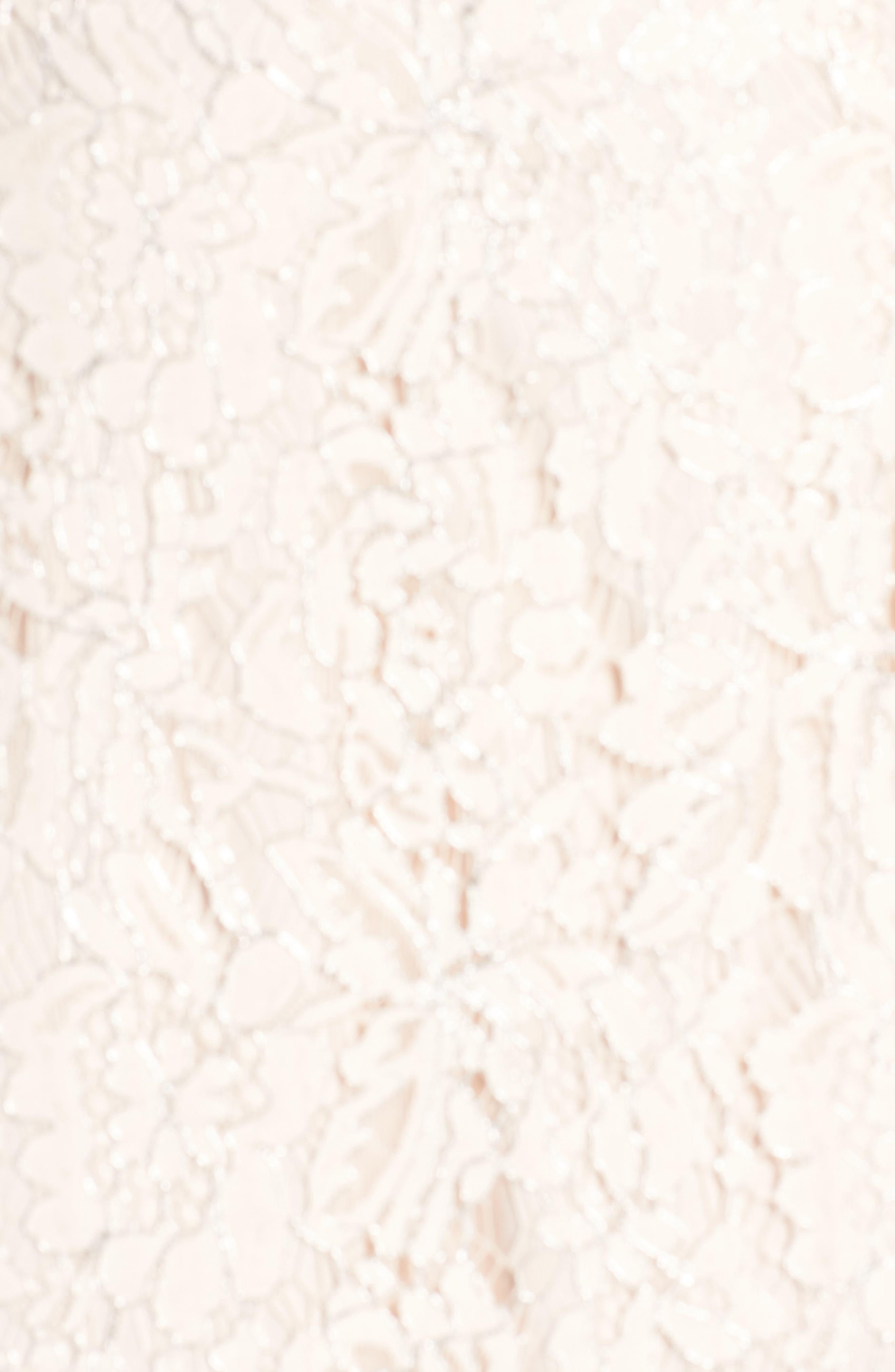 One-Shoulder Metallic Lace Gown,                             Alternate thumbnail 5, color,                             Blush