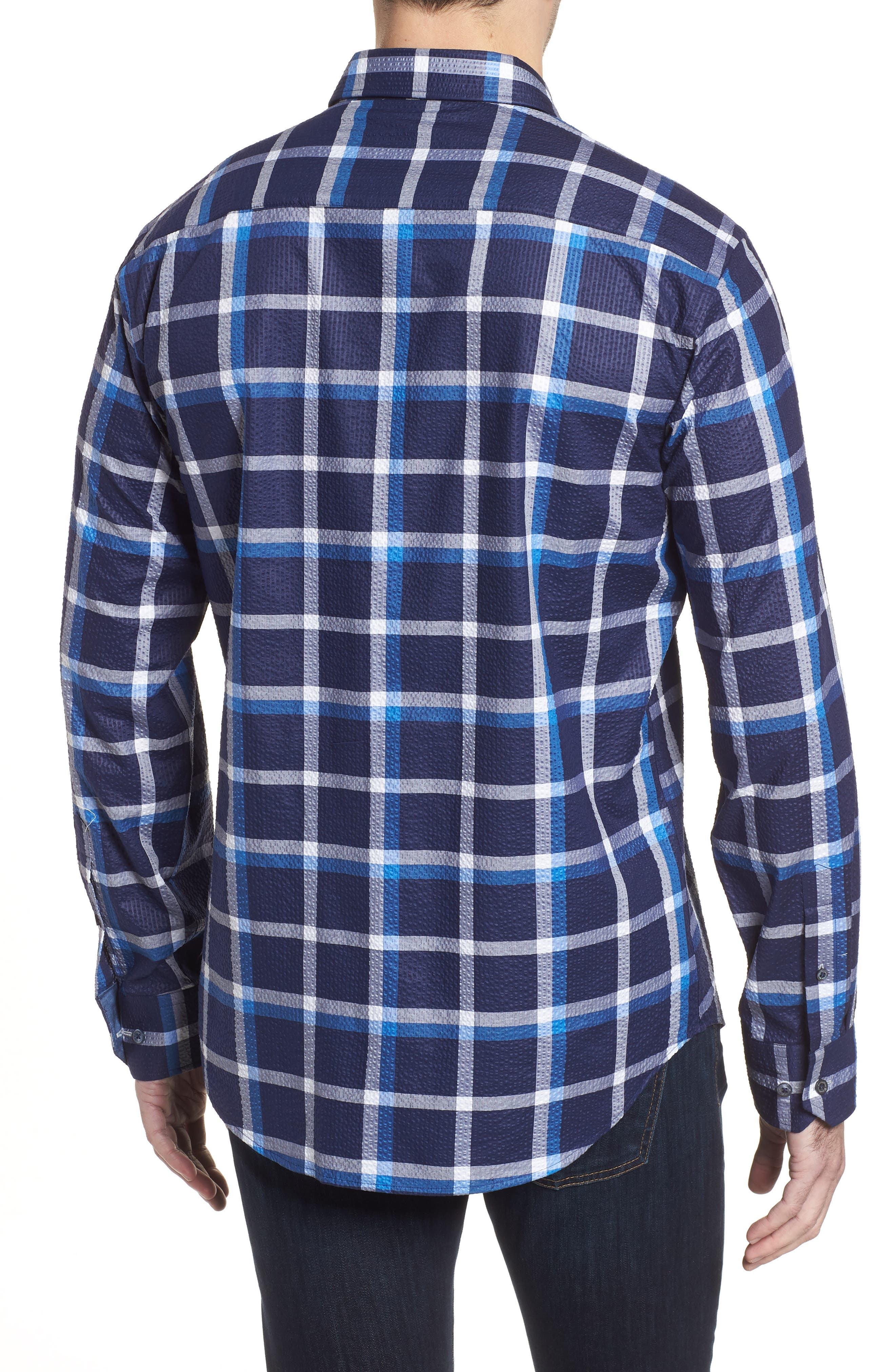 Shaped Fit Windowpane Plaid Sport Shirt,                             Alternate thumbnail 2, color,                             Navy