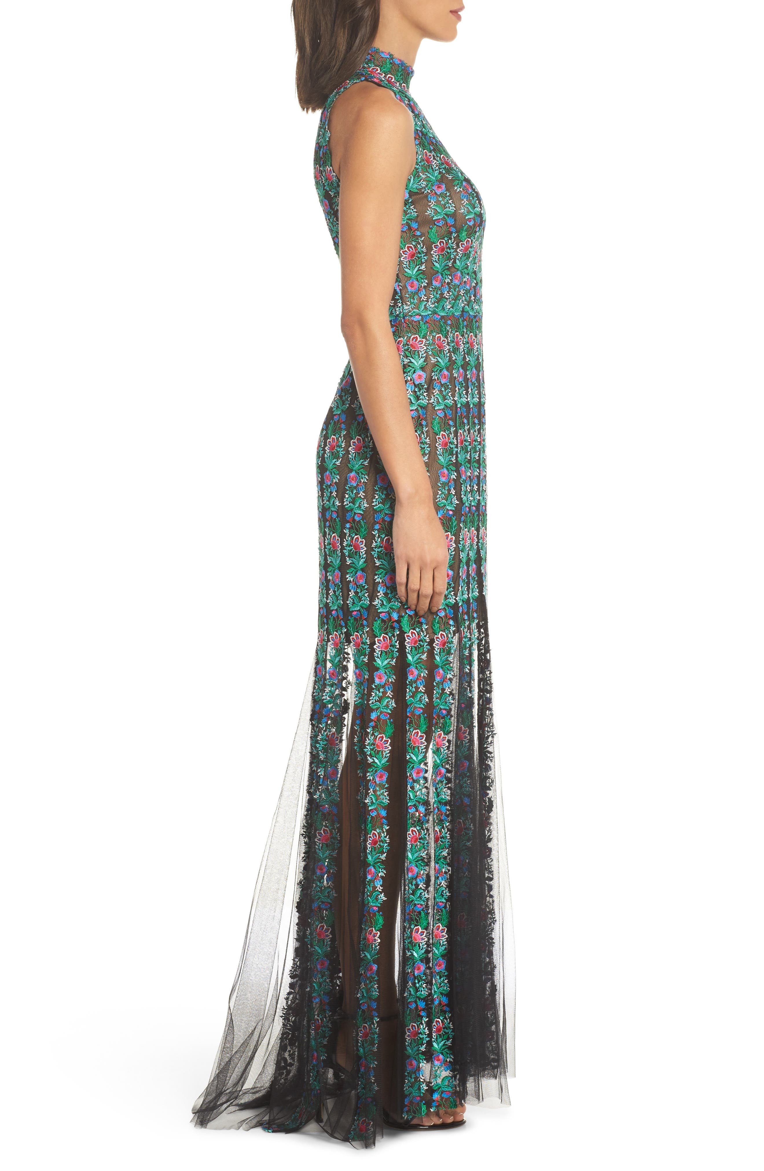 Embroidered Tulle Gown,                             Alternate thumbnail 3, color,                             Black/ Jade