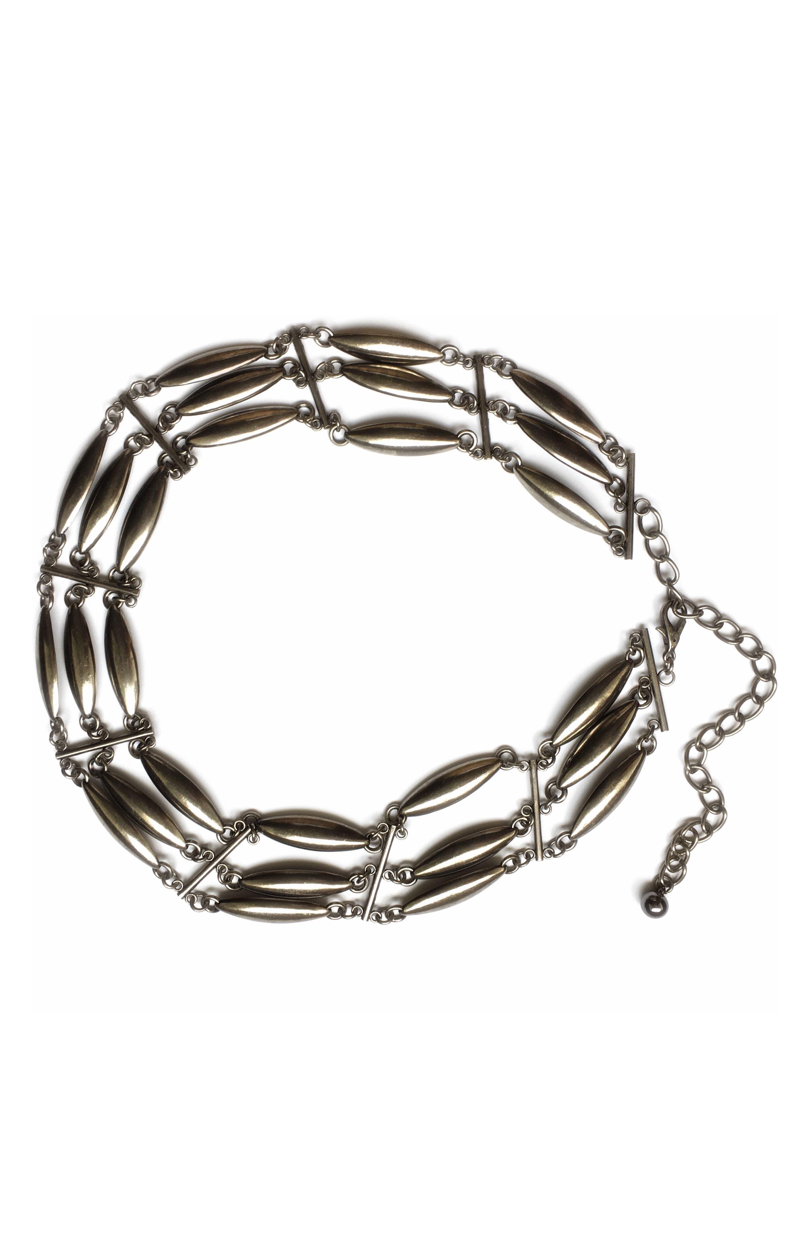 LOVESTRENGTH Amor Multi Chain Belt in Silver
