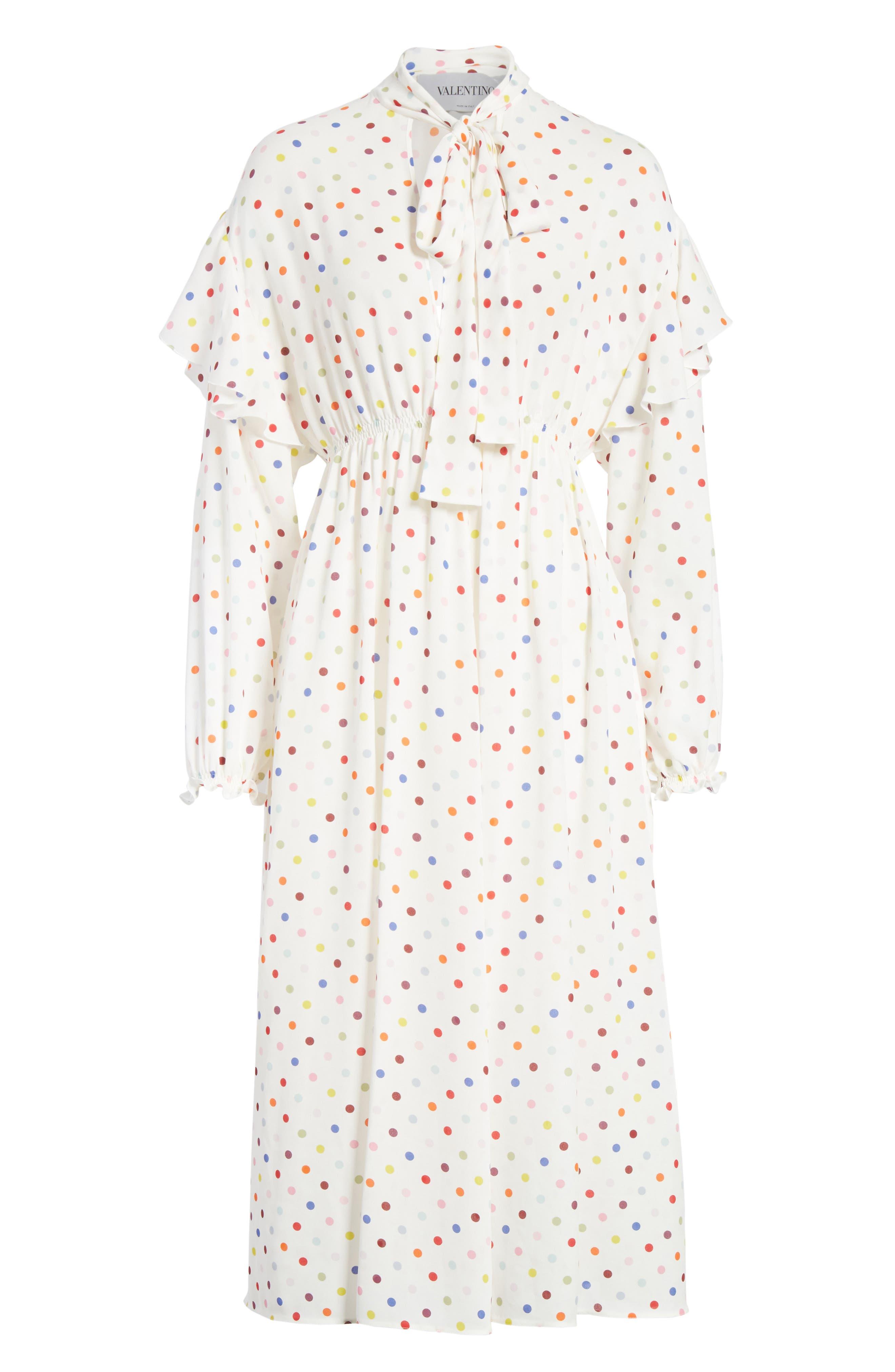 Polka Dot Silk Georgette Dress,                             Alternate thumbnail 7, color,                             Ivory
