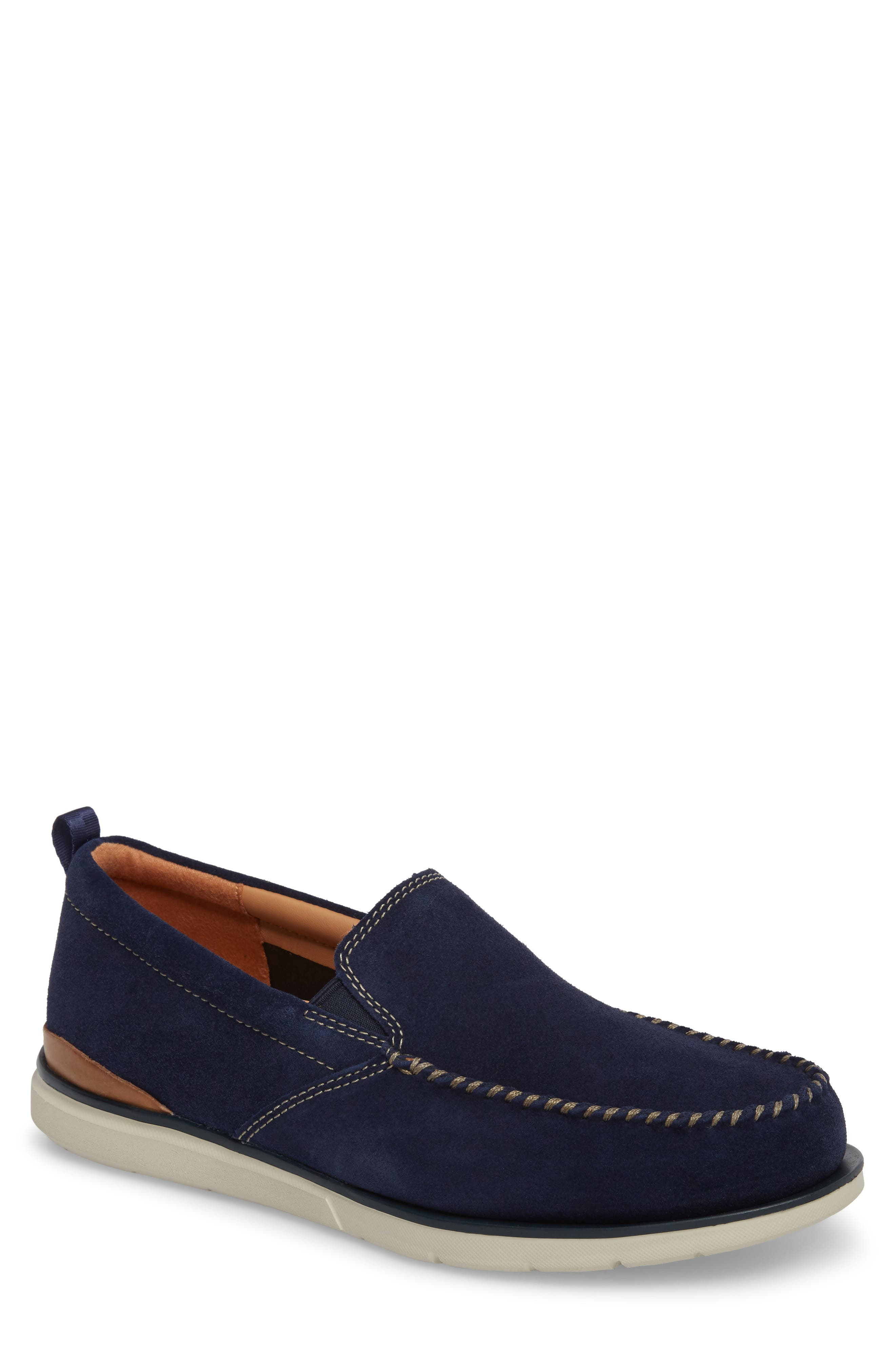 Edgewood Step Moc Toe Loafer,                             Main thumbnail 1, color,                             Blue Suede