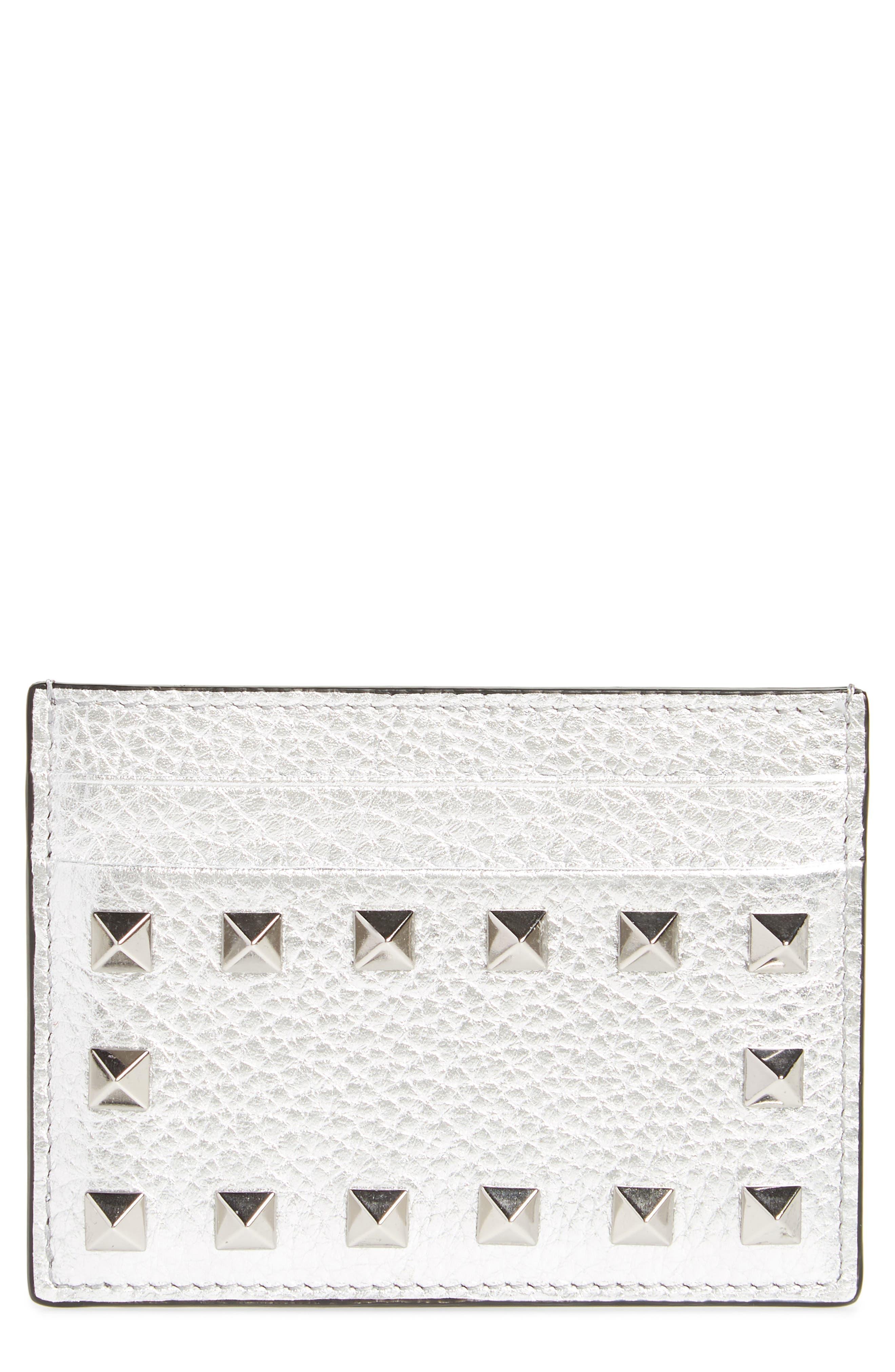 VALENTINO GARAVANI Rockstud Metallic Leather Card Holder