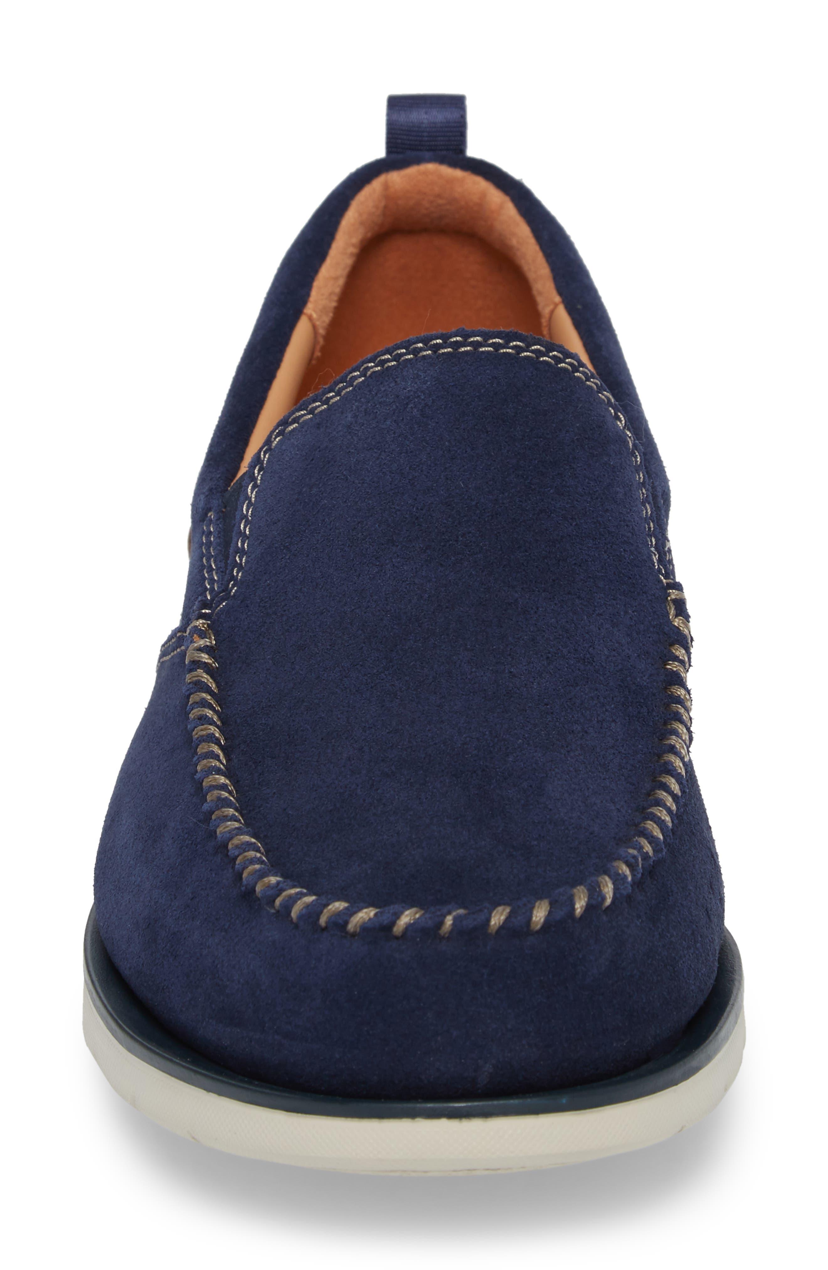 Edgewood Step Moc Toe Loafer,                             Alternate thumbnail 4, color,                             Blue Suede