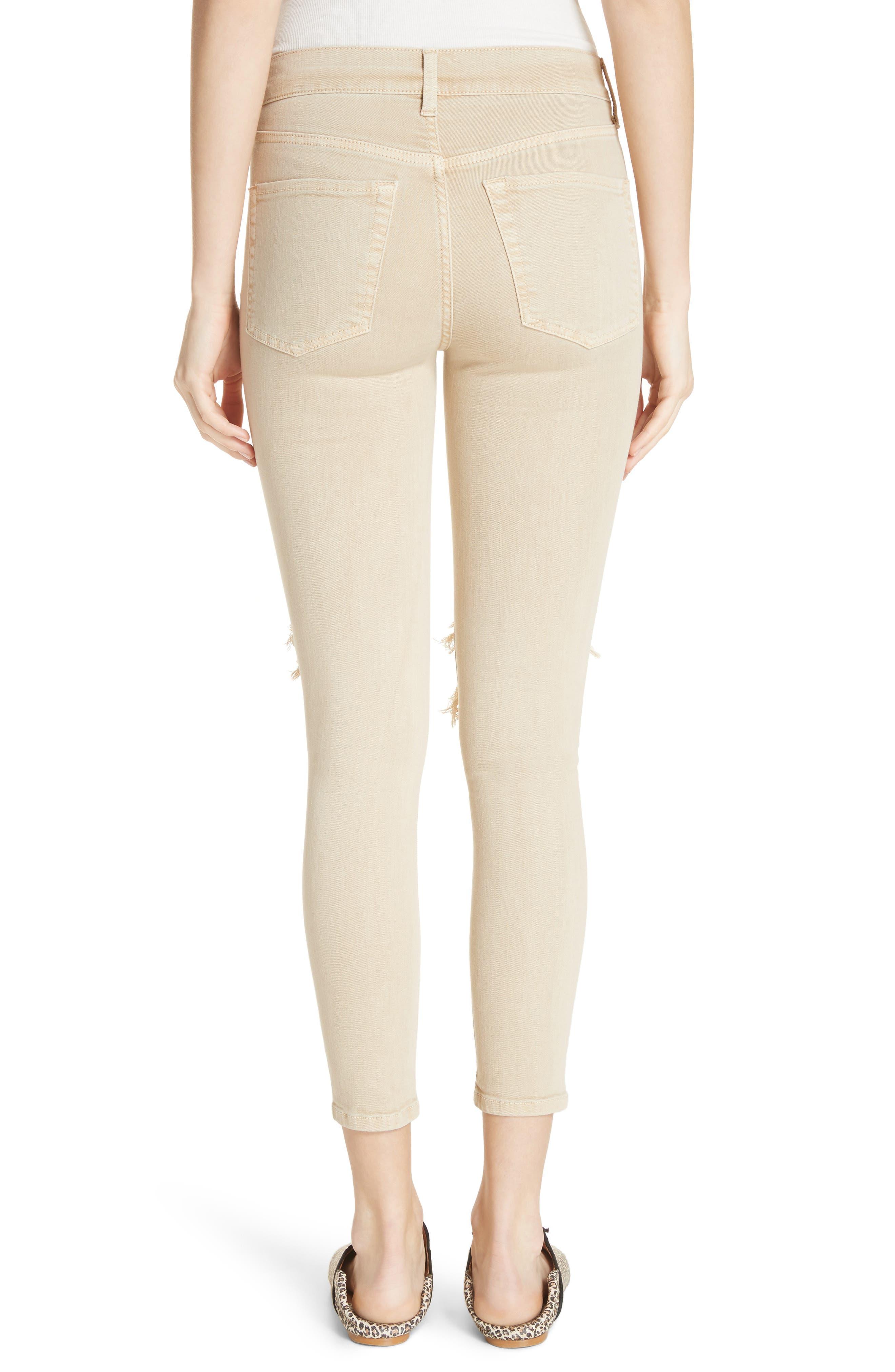 High Waist Busted Knee Skinny Jeans,                             Alternate thumbnail 2, color,                             Khaki