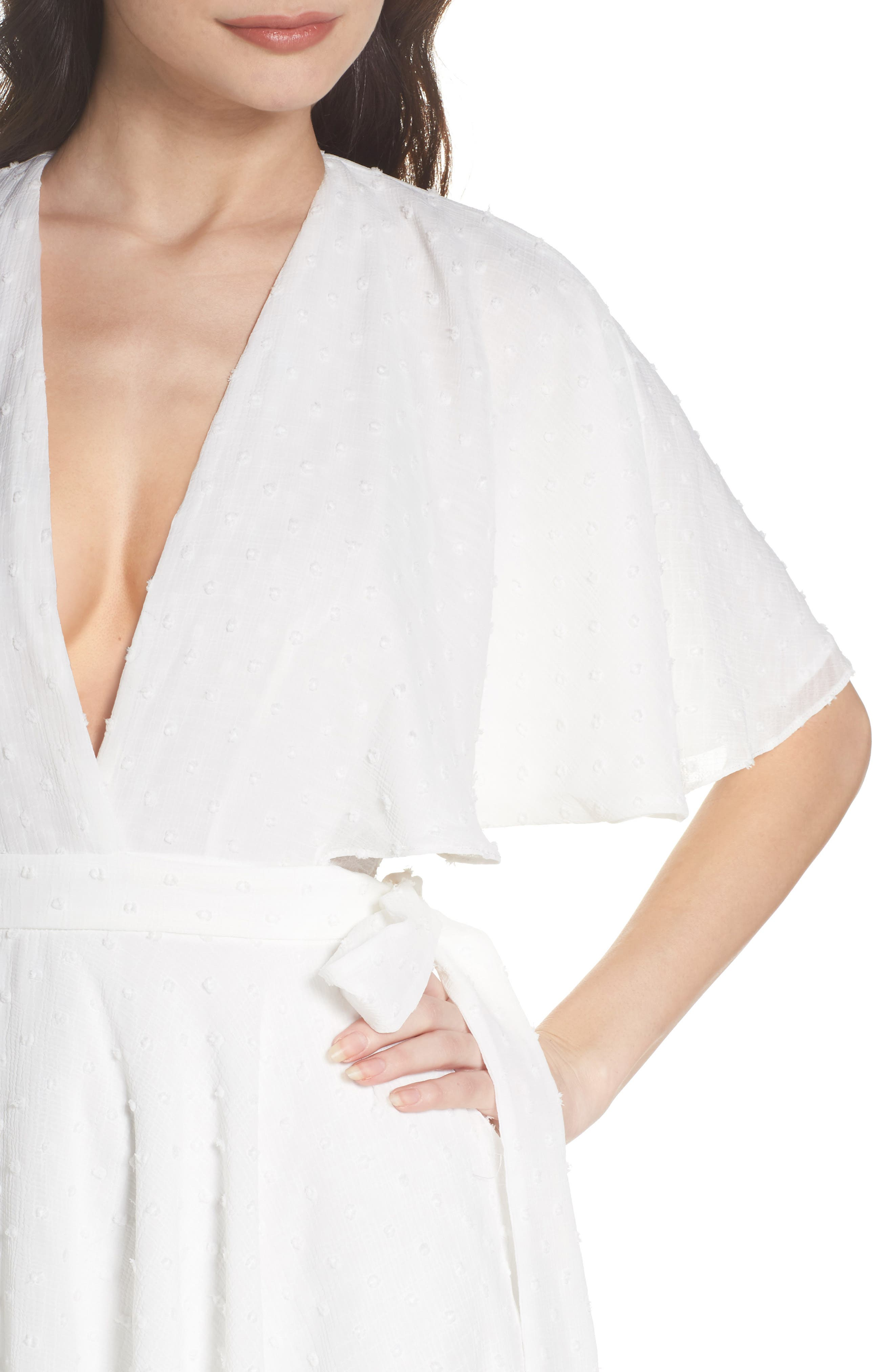 Sylvan Swiss Dot Wrap Dress,                             Alternate thumbnail 4, color,                             Ivory
