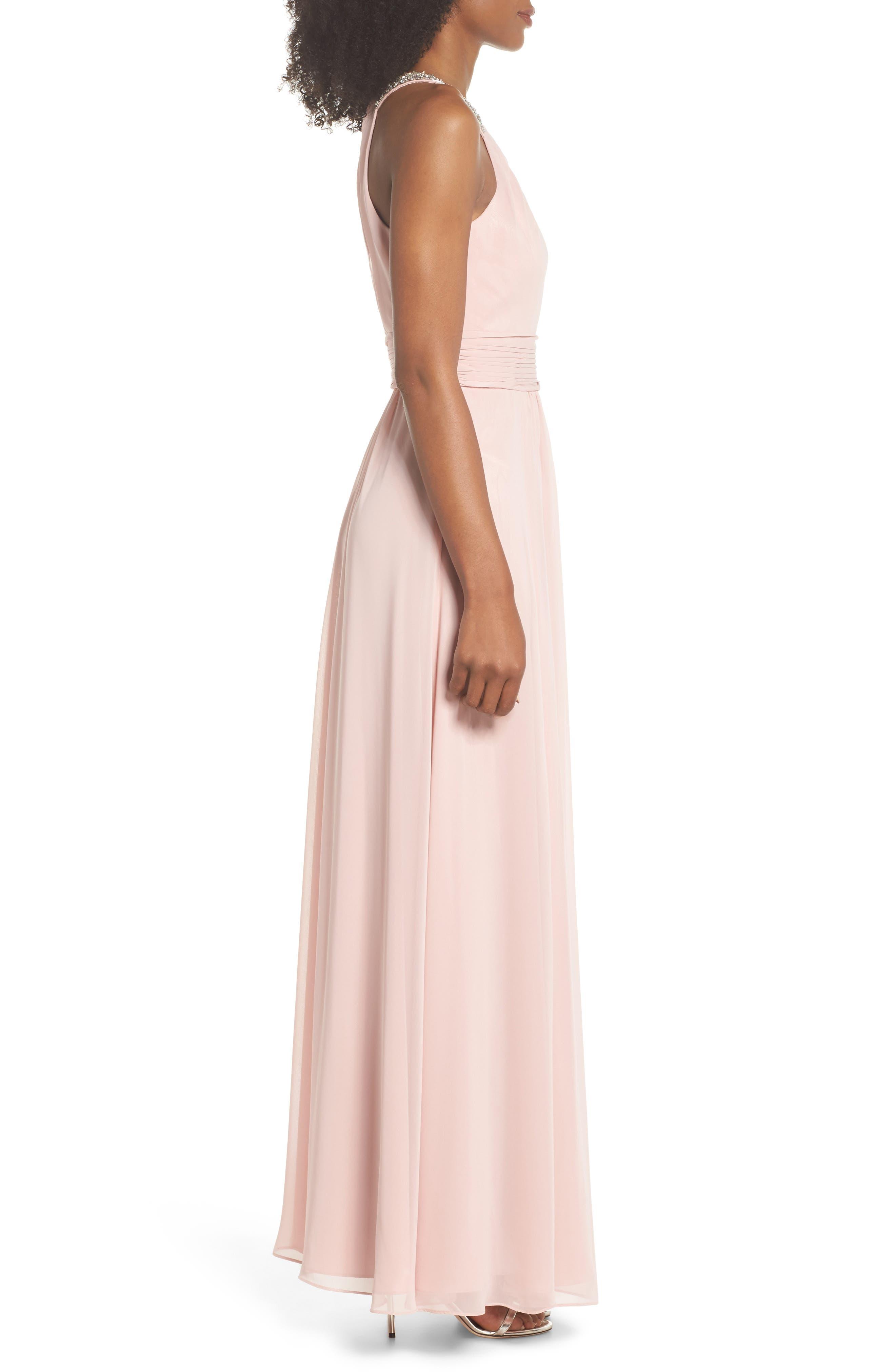 Beaded Halter Gown,                             Alternate thumbnail 3, color,                             Blush
