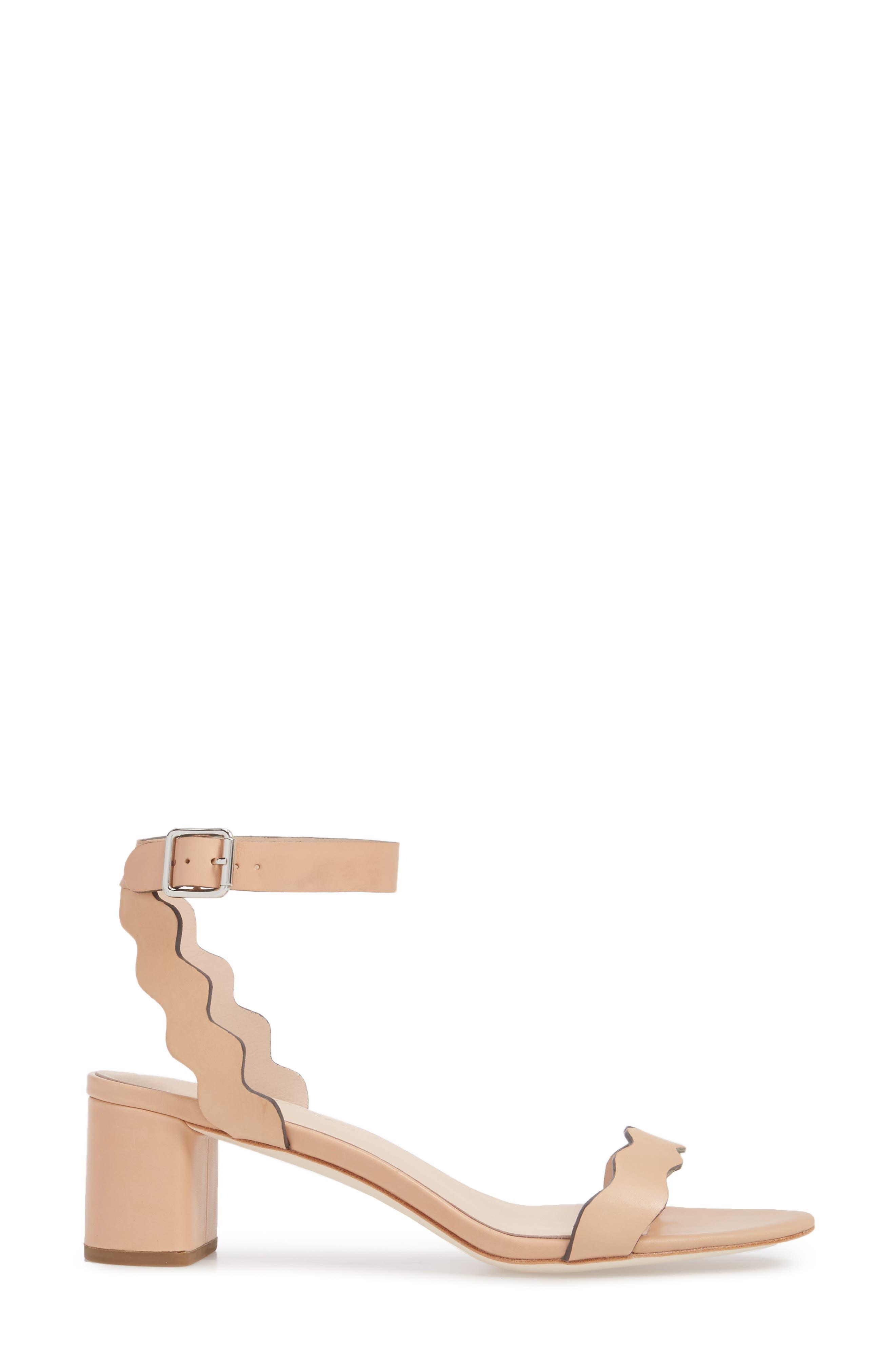Emi Scalloped Sandal,                             Alternate thumbnail 3, color,                             Wheat