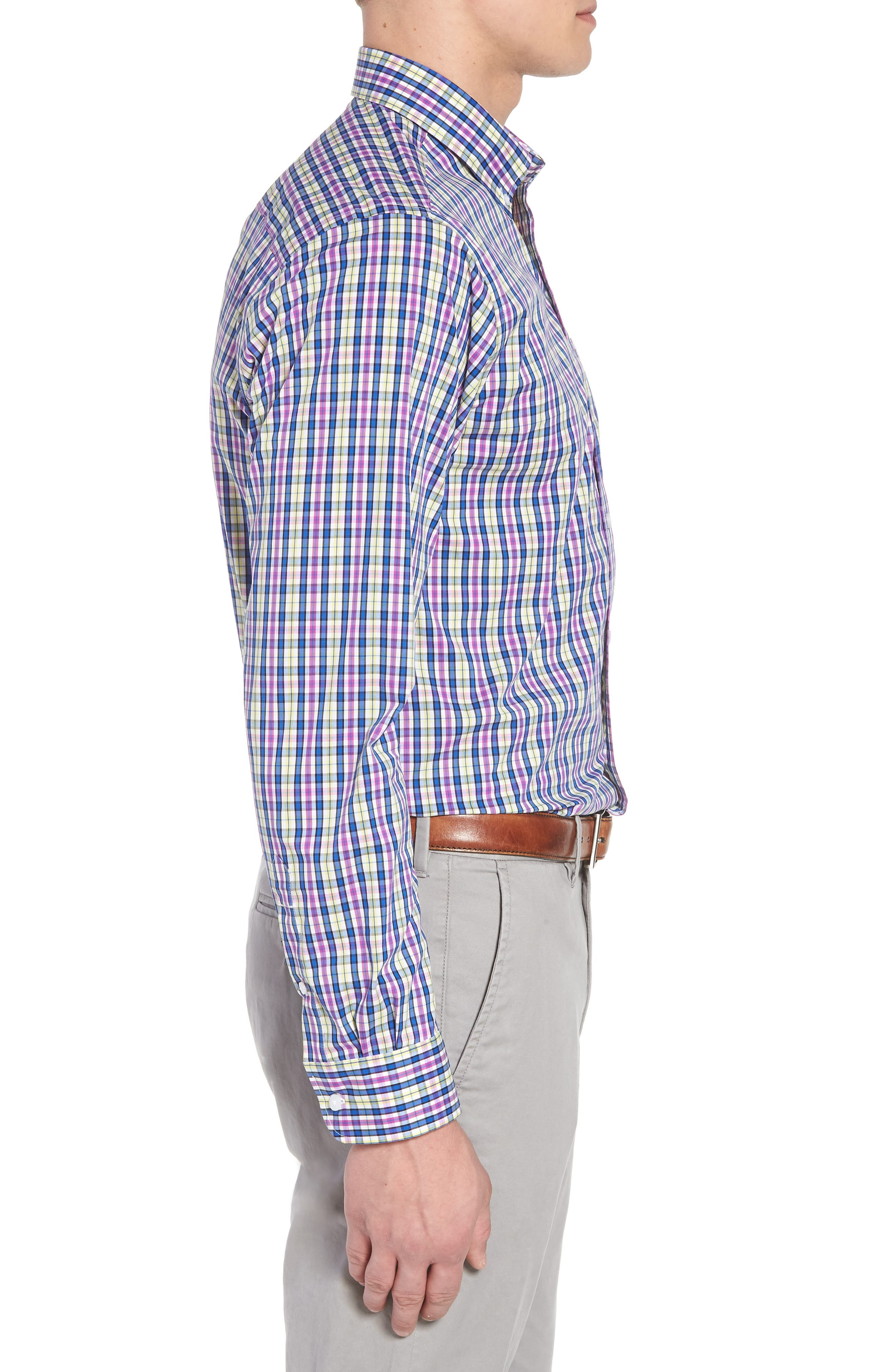 Anthony Plaid Performance Sport Shirt,                             Alternate thumbnail 3, color,                             Limelight