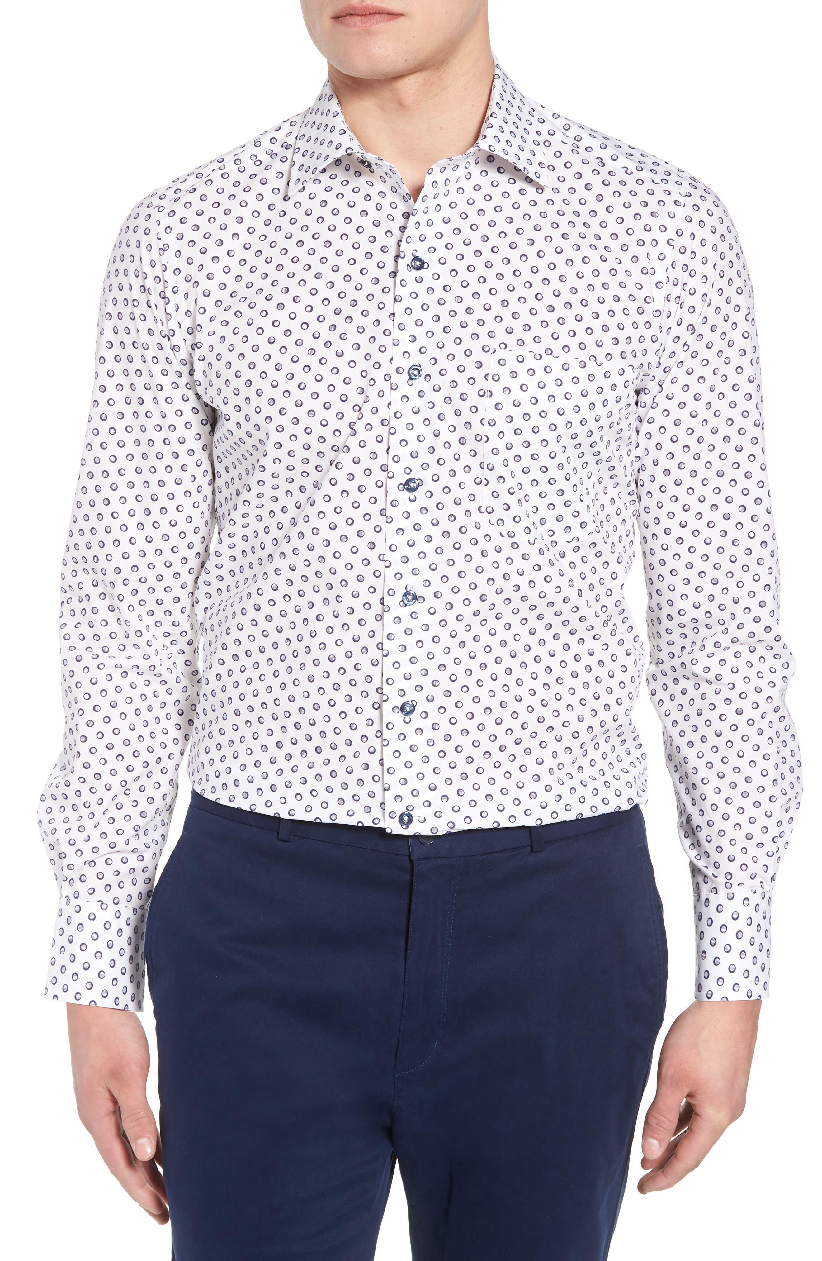 Regular Fit Dot Print Sport Shirt,                             Main thumbnail 1, color,                             White/ Navy