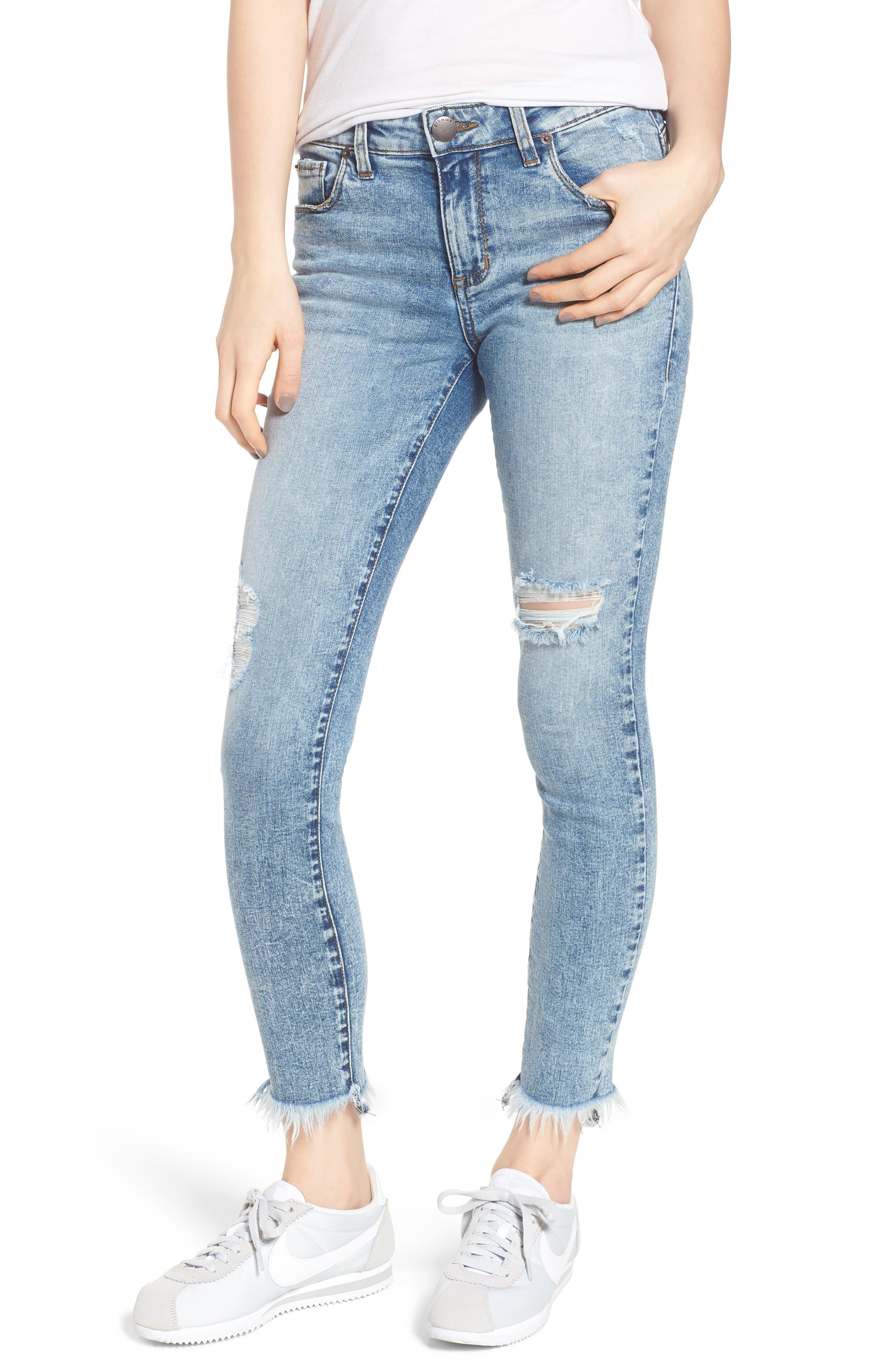 Emma Fray Hem Ankle Skinny Jeans,                         Main,                         color, Durkee
