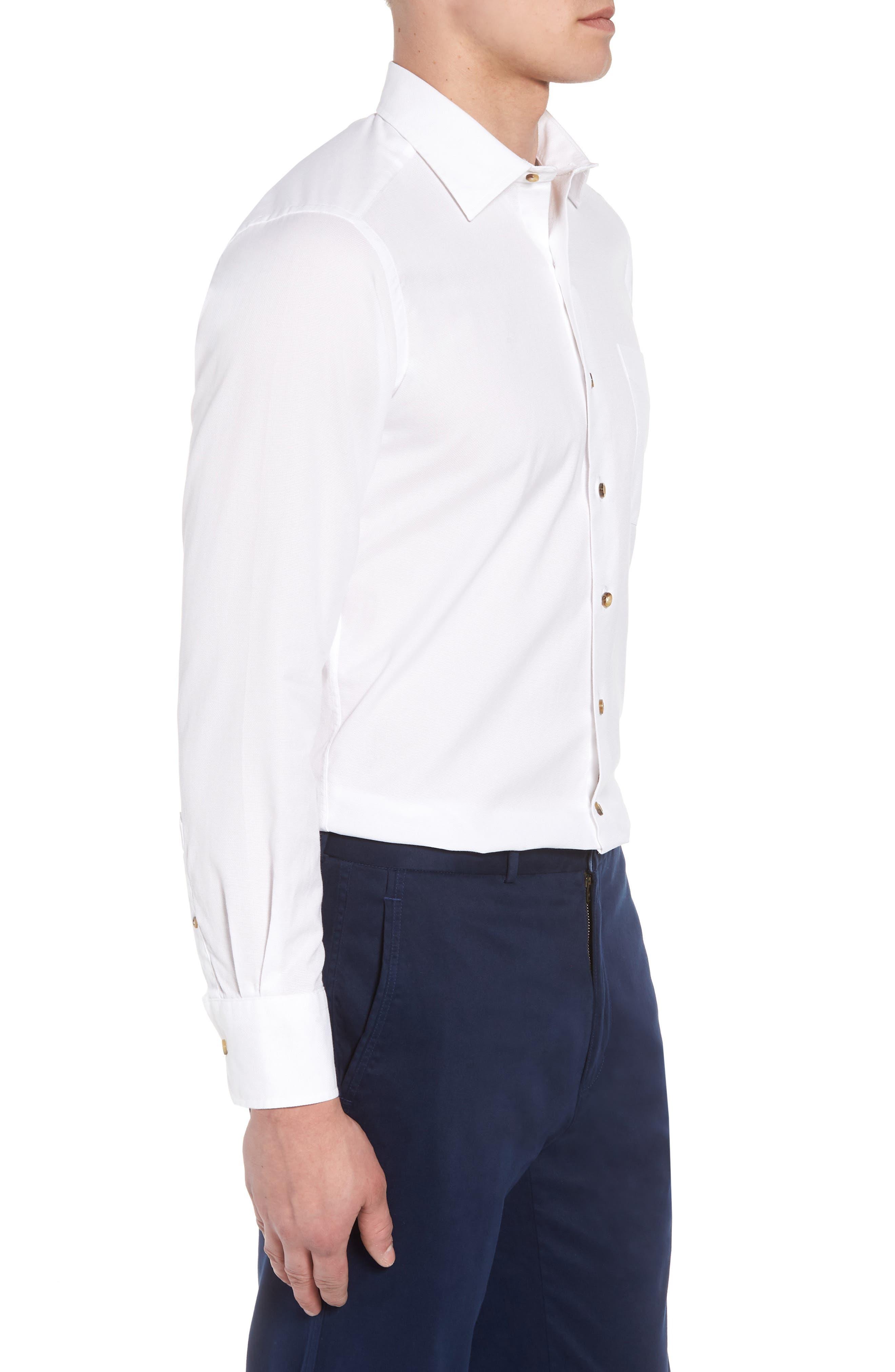 Regular Fit Garment Washed Sport Shirt,                             Alternate thumbnail 3, color,                             White