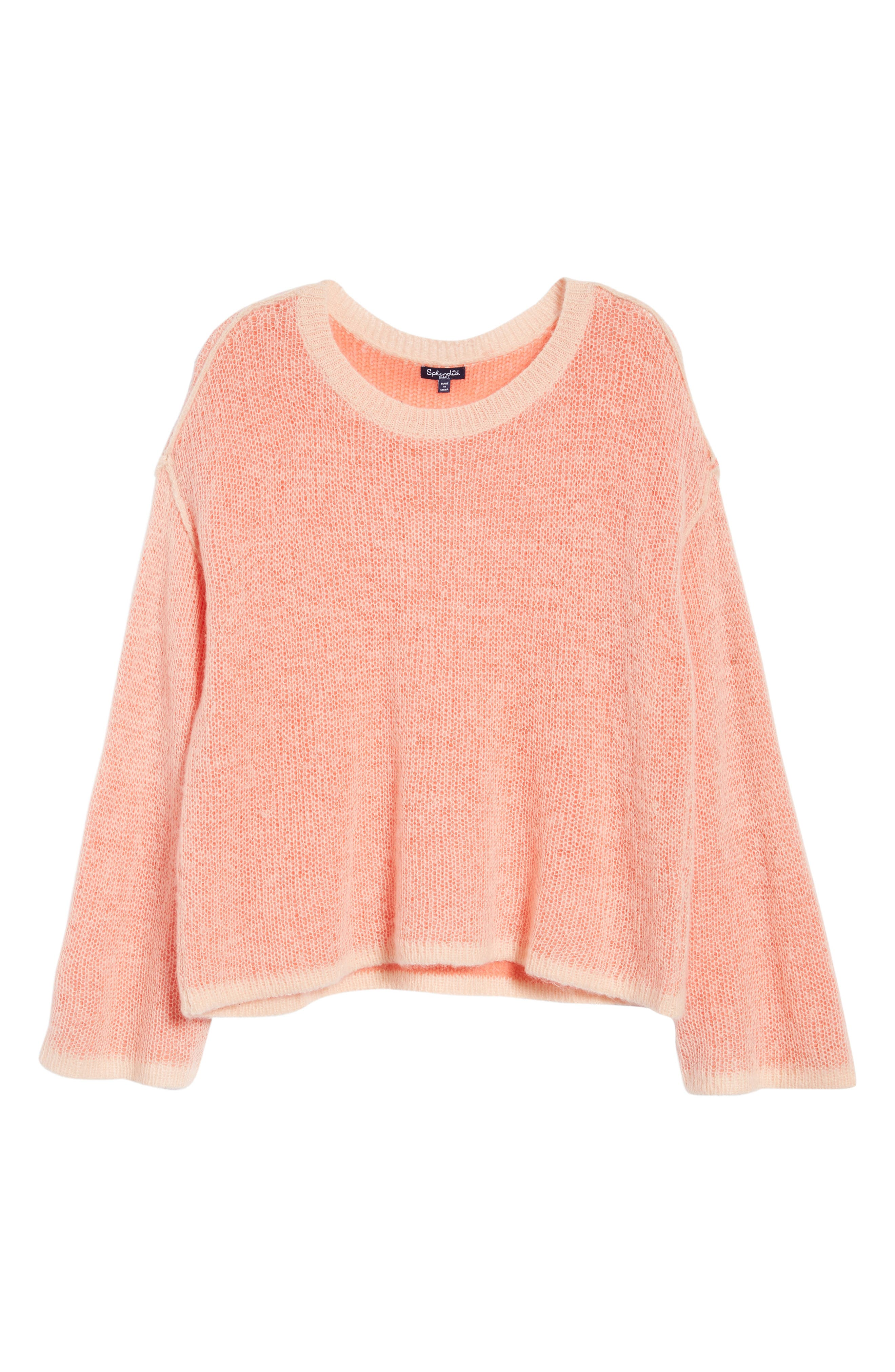 Bell Sleeve Sweater,                             Alternate thumbnail 7, color,                             Pink