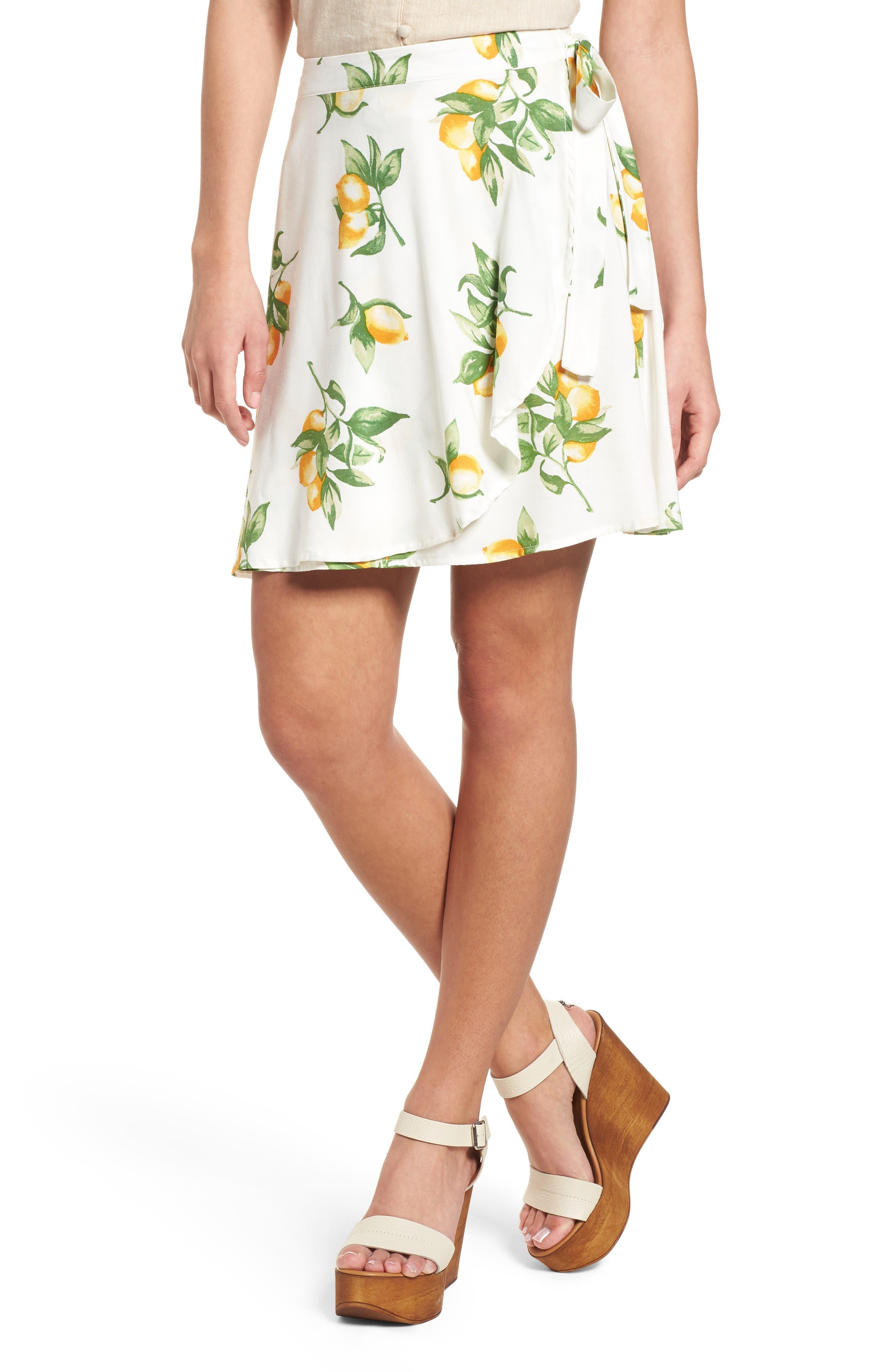 Fruit Print Side Tie Skirt,                         Main,                         color, Ivory Lemon Print
