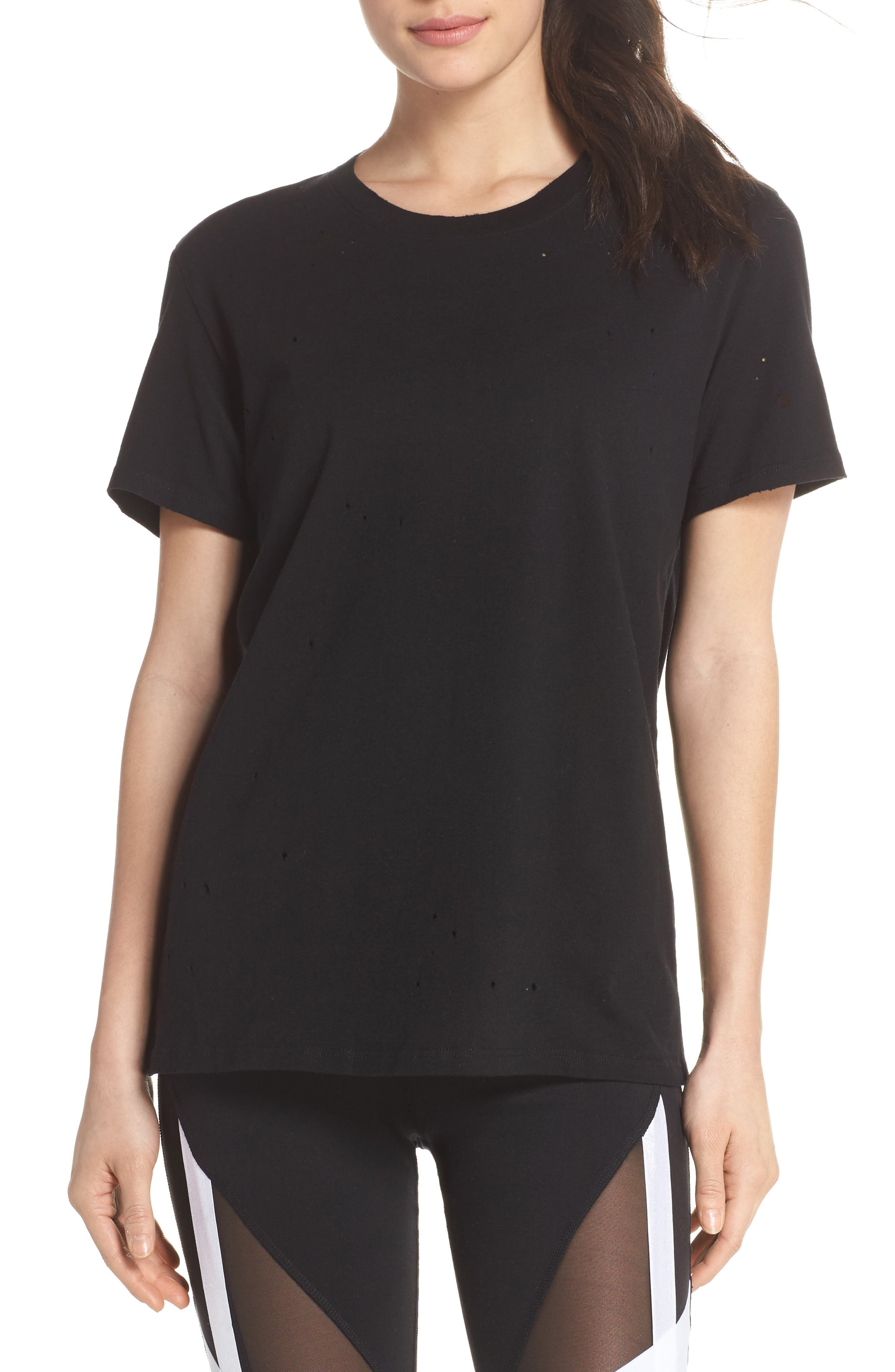 Distressed Tee,                         Main,                         color, Black/ Distressed Holes