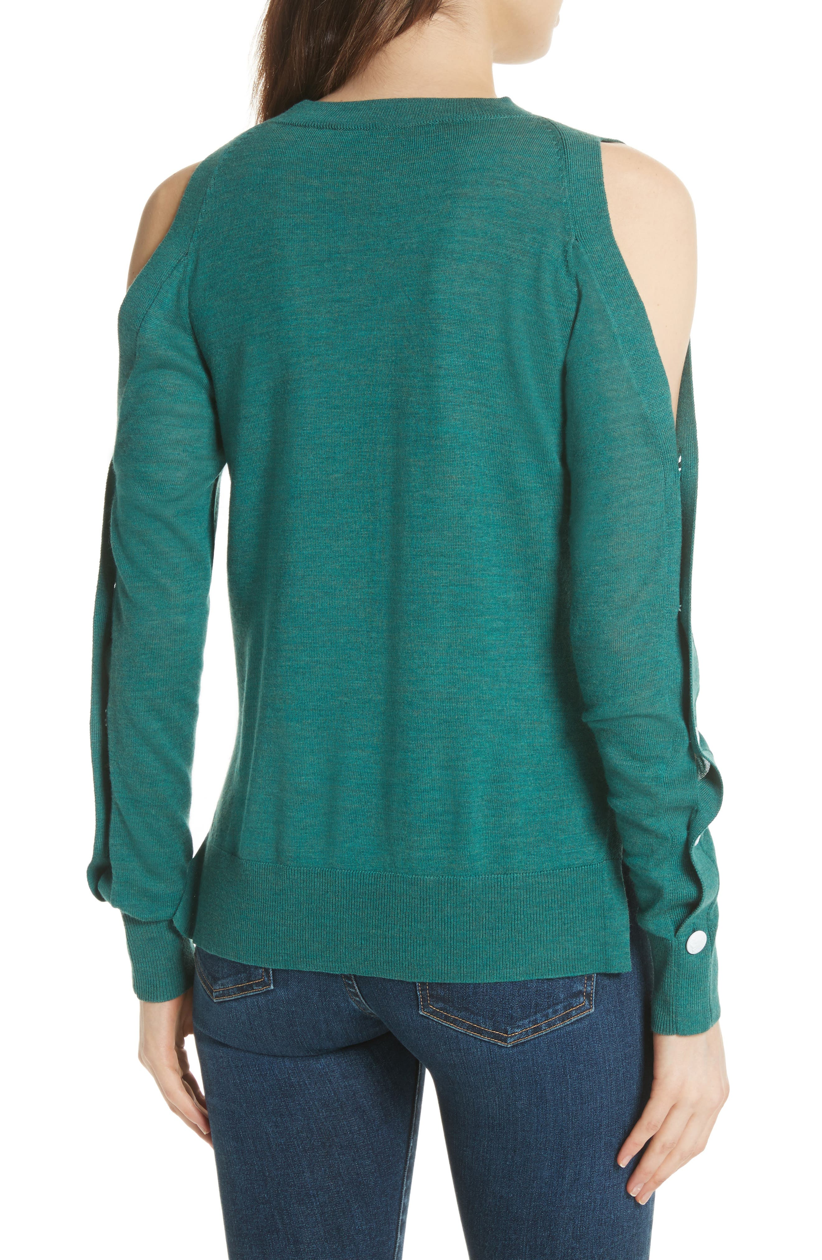 Veda Button Sleeve Cold Shoulder Wool Sweater,                             Alternate thumbnail 2, color,                             Green