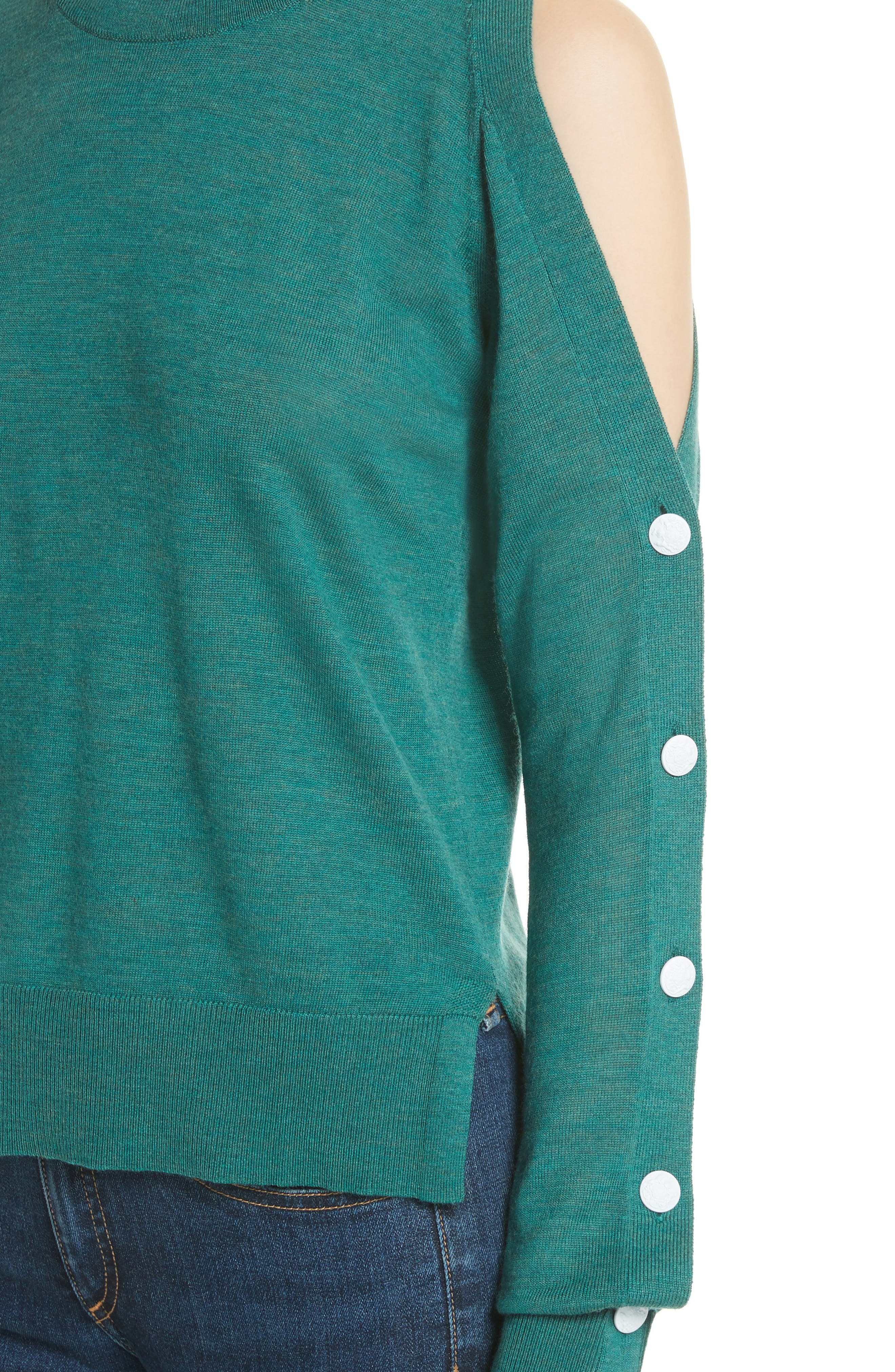 Veda Button Sleeve Cold Shoulder Wool Sweater,                             Alternate thumbnail 4, color,                             Green