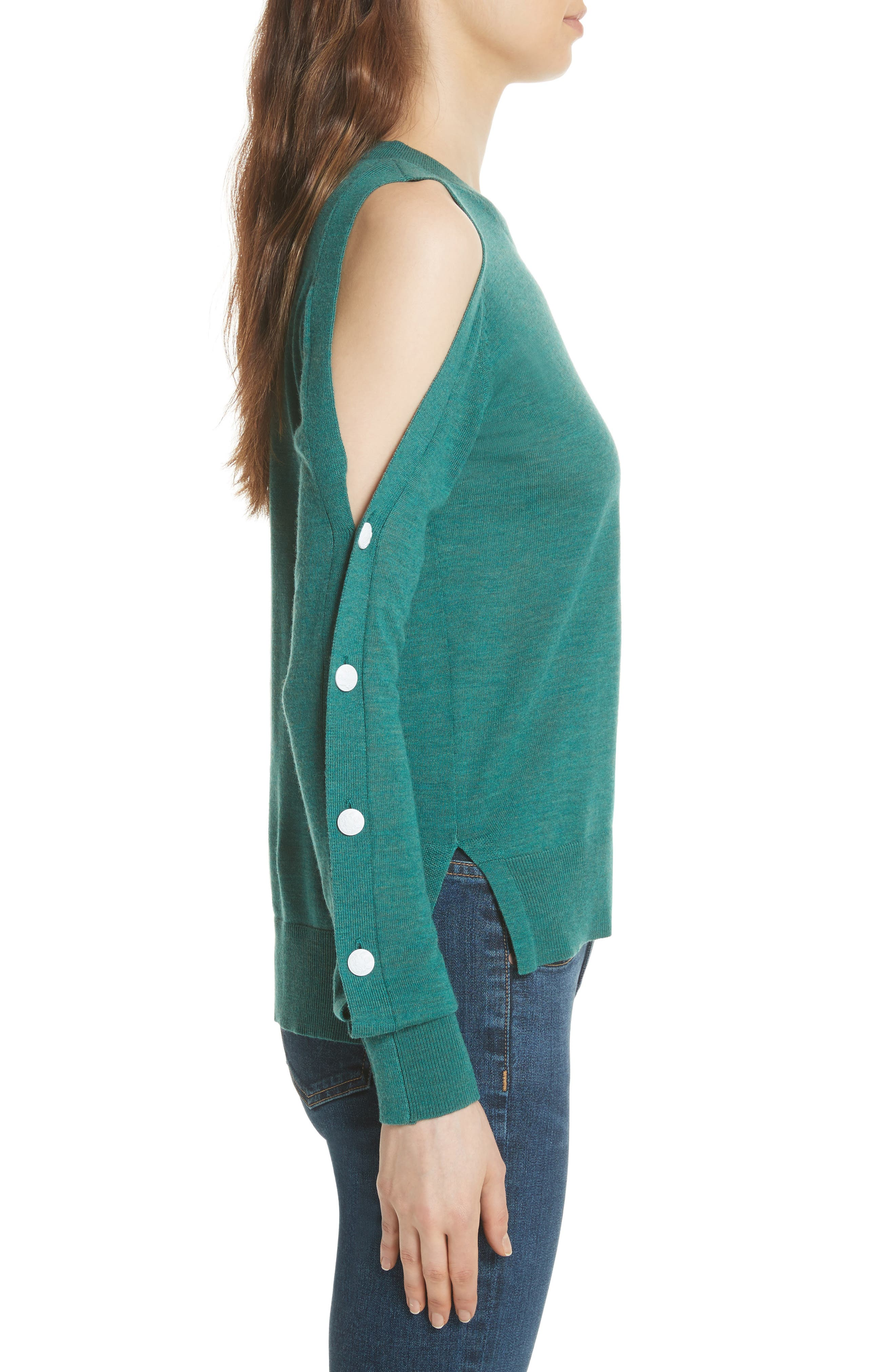 Veda Button Sleeve Cold Shoulder Wool Sweater,                             Alternate thumbnail 3, color,                             Green