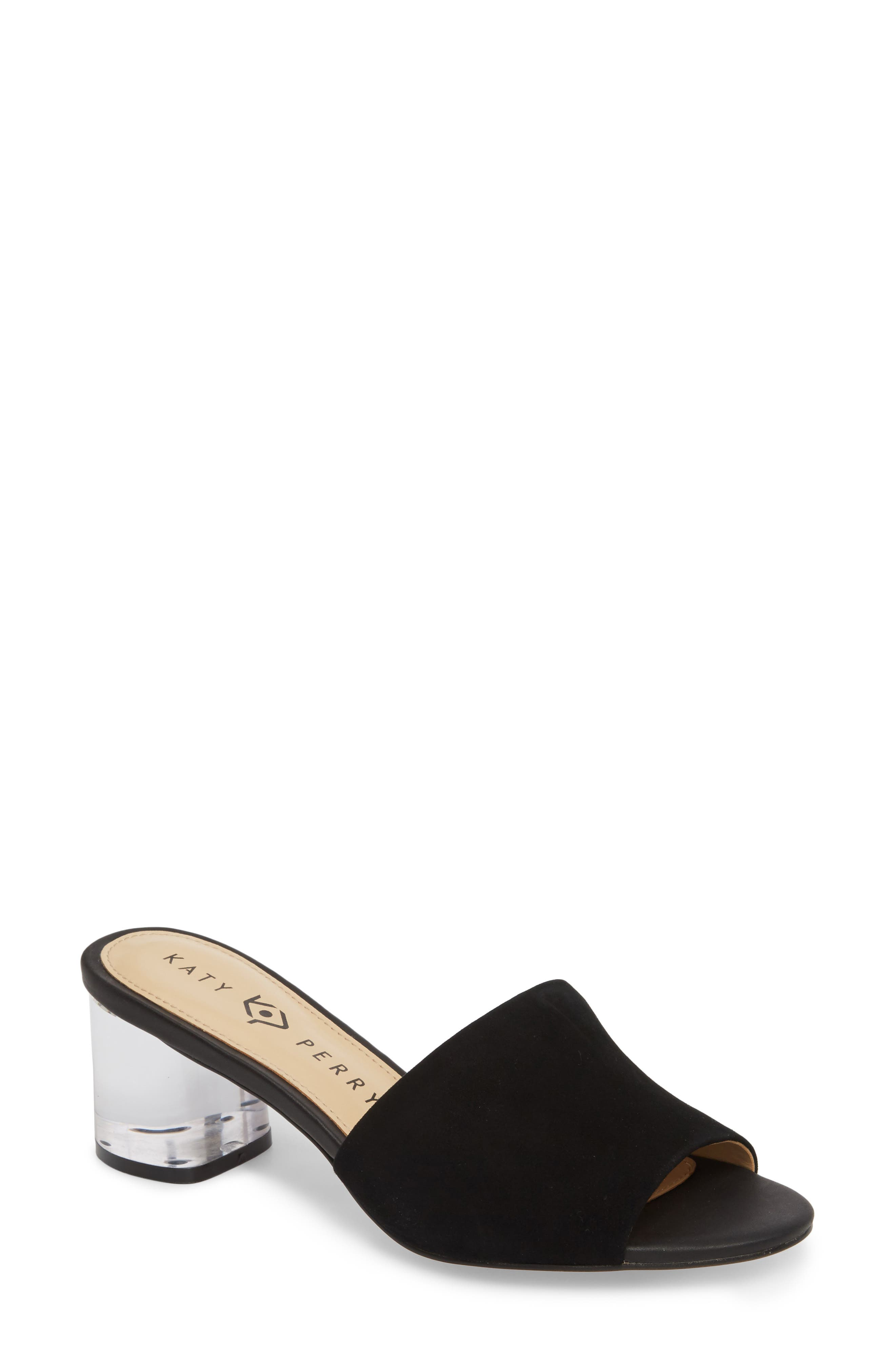 The Kaitlynn Slide Sandal,                             Main thumbnail 1, color,                             Black Suede