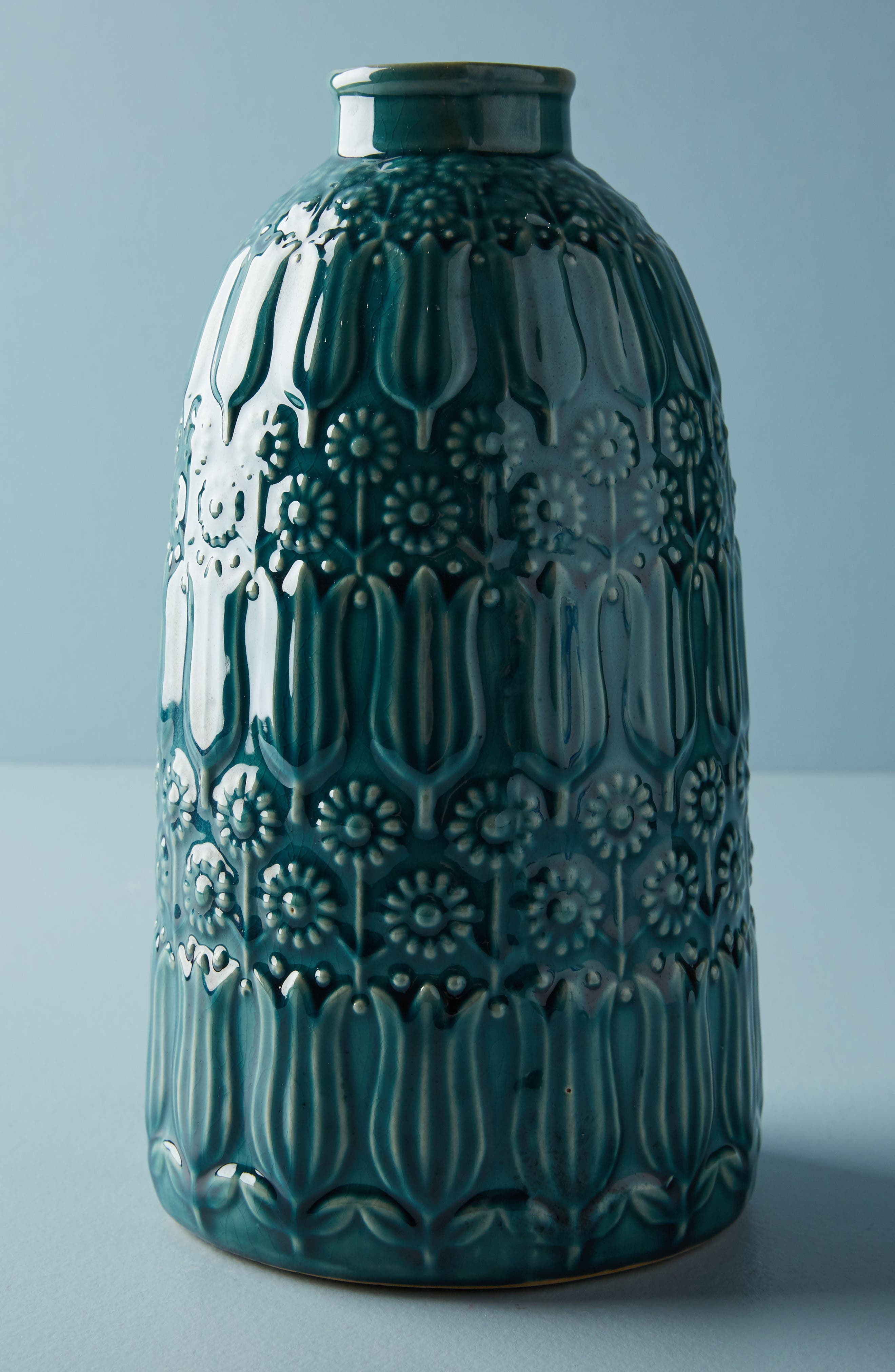 Embossed Floral Vase,                             Main thumbnail 1, color,                             Blue Green