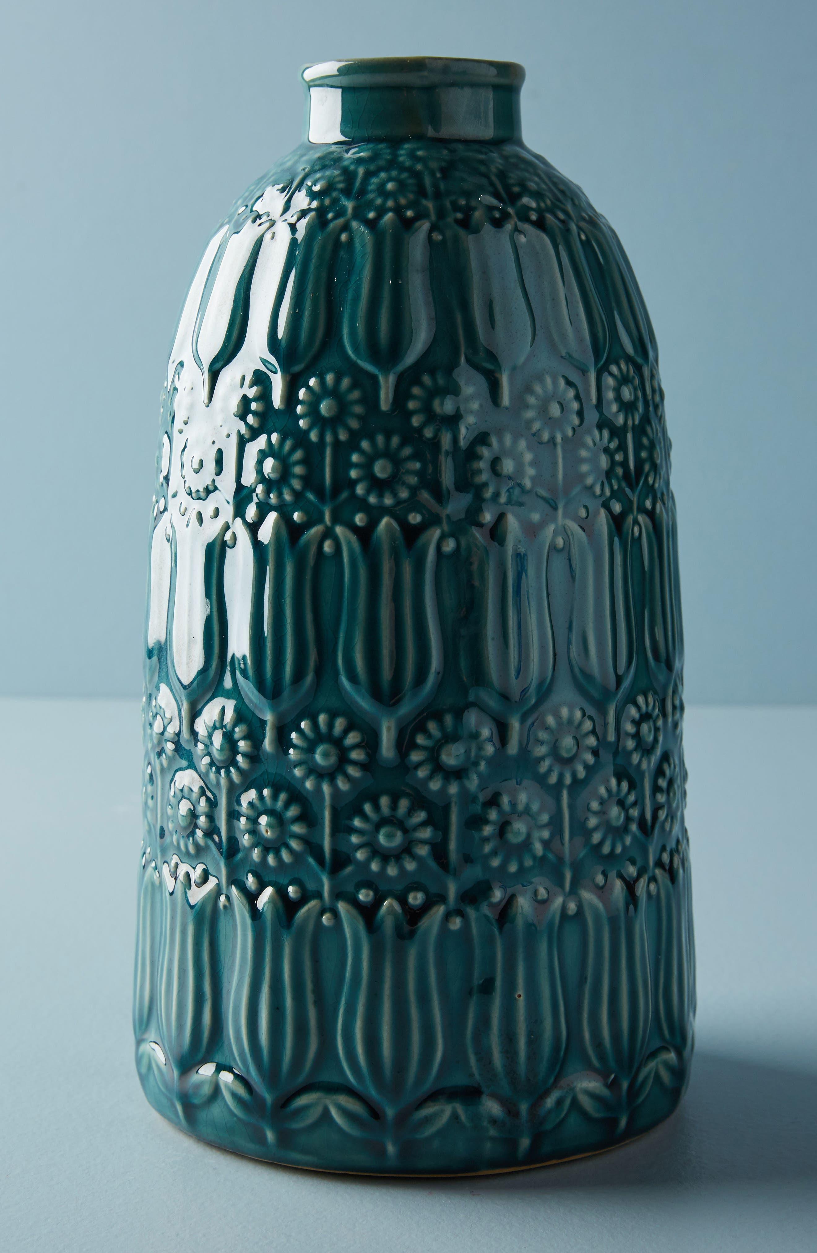 Embossed Floral Vase,                         Main,                         color, Blue Green